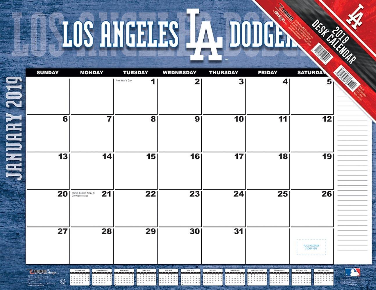 Los Angeles Dodgers 2019 Mlb 22 X 17 Desk Calendar – Buy At Khc Sports Calendar 2019 To Buy