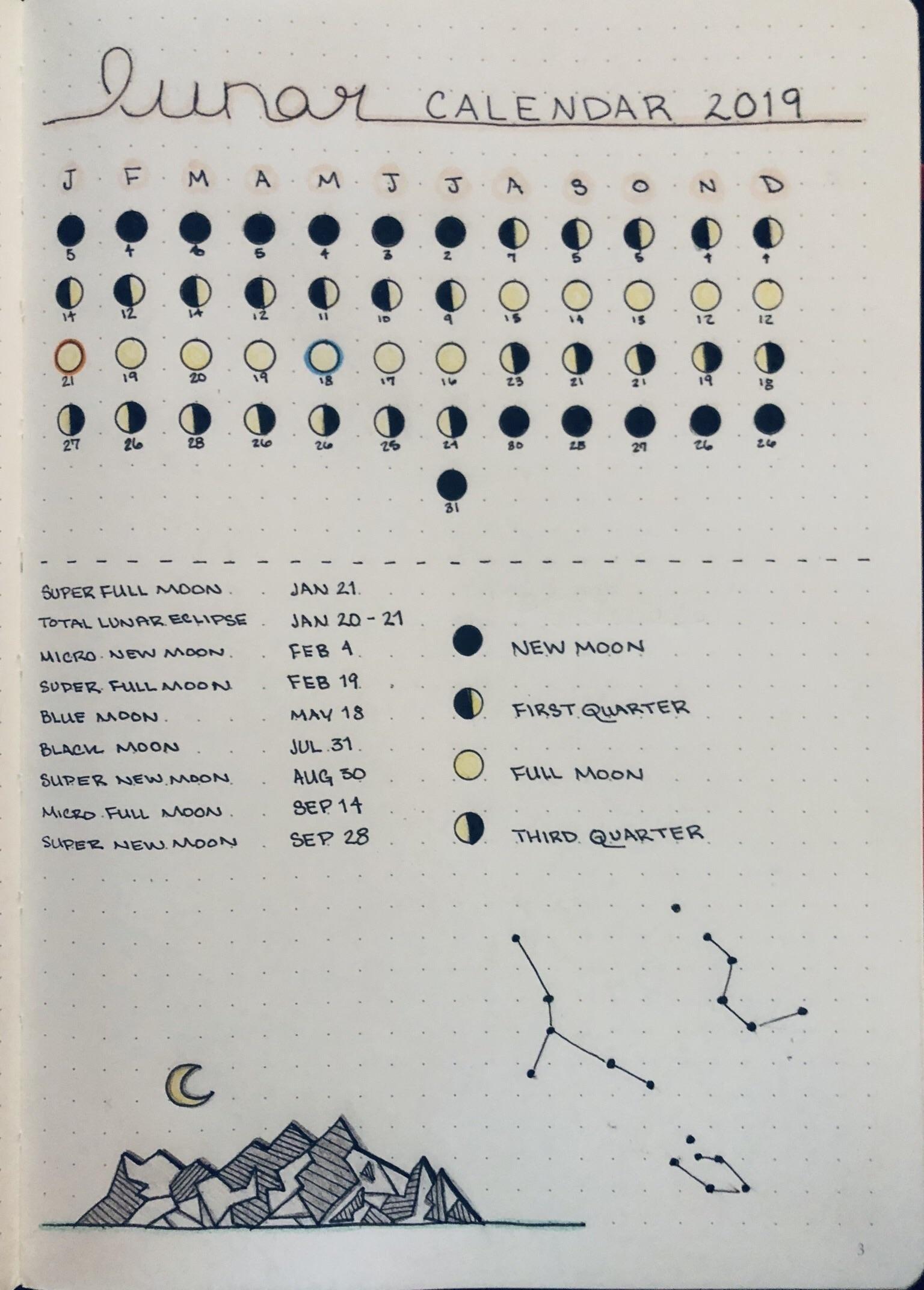 Lunar Calendar For 2019 : Bujo Calendar 2019 Moon