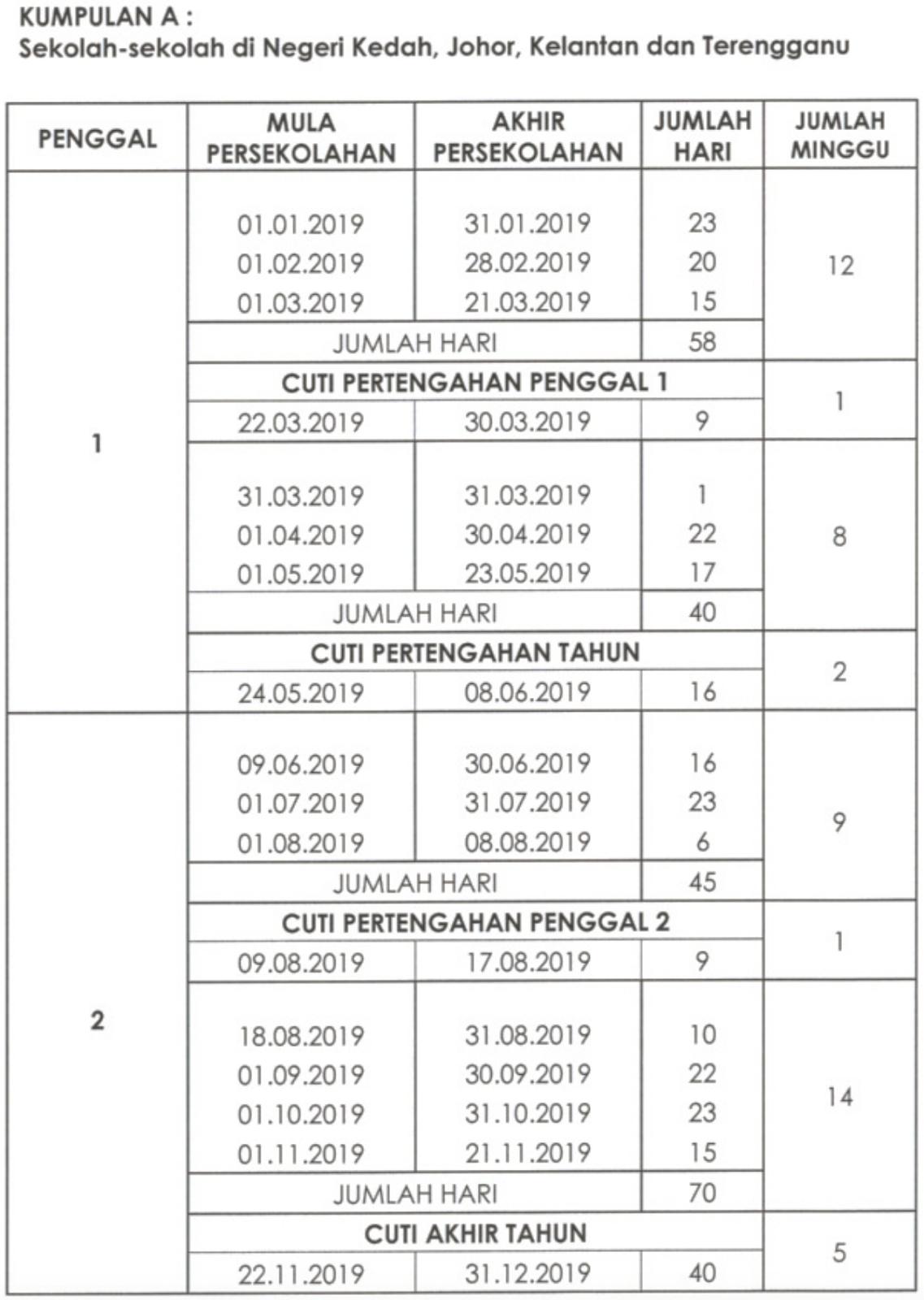 Malaysia School Holiday 2019 Calendar (Kalendar Cuti Sekolah 2019 Calendar 2019 Raya Cina