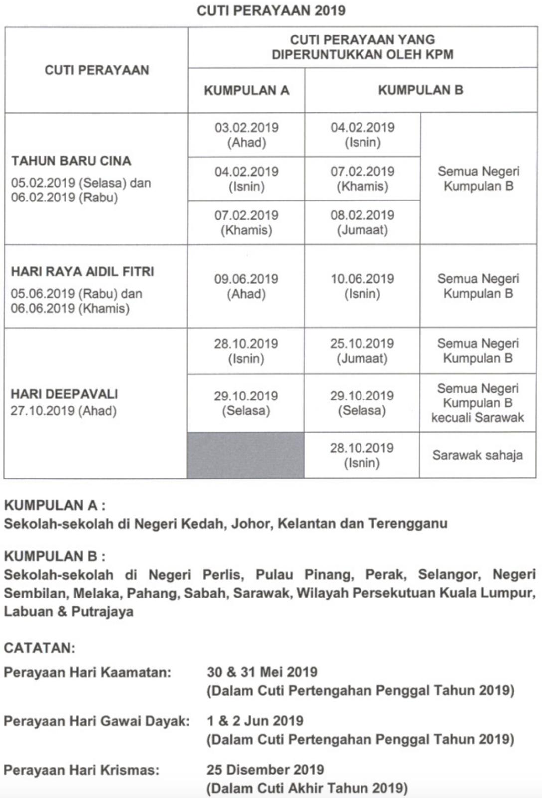 Malaysia Students: January 2019 Calendar 2019 Raya Cina
