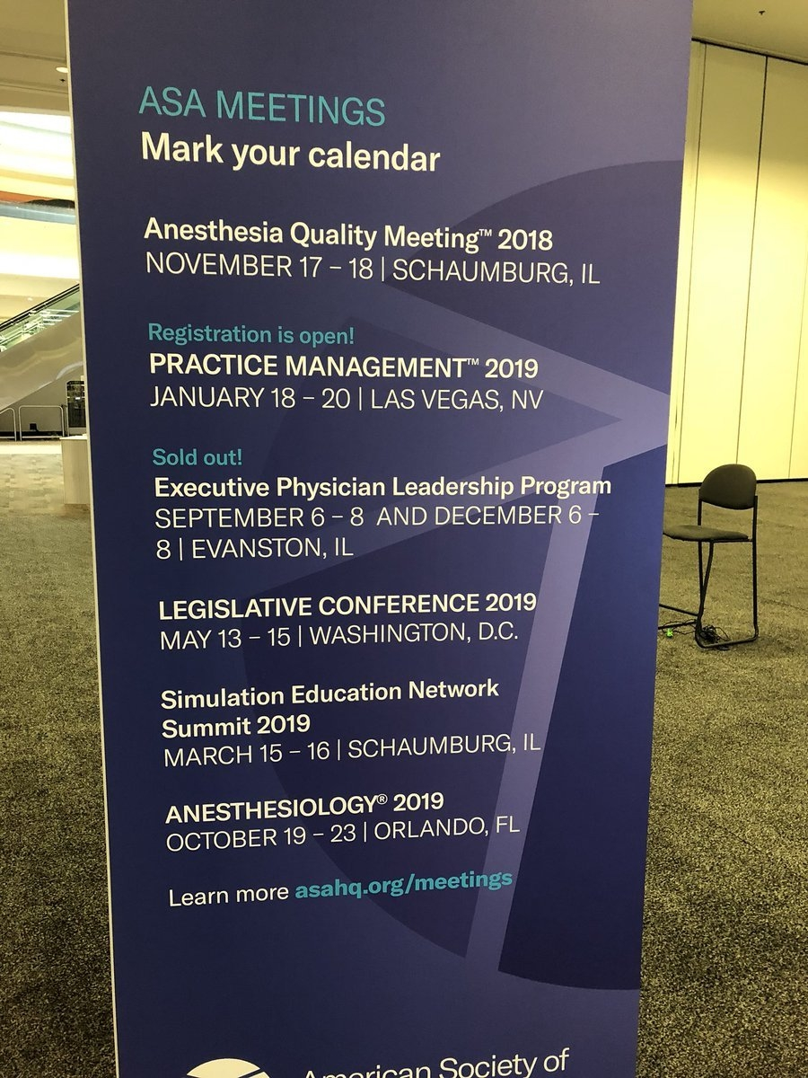"Manuel Bonilla On Twitter: ""best Asa Annual Meeting #anes18 Ever W&l Calendar 2019"