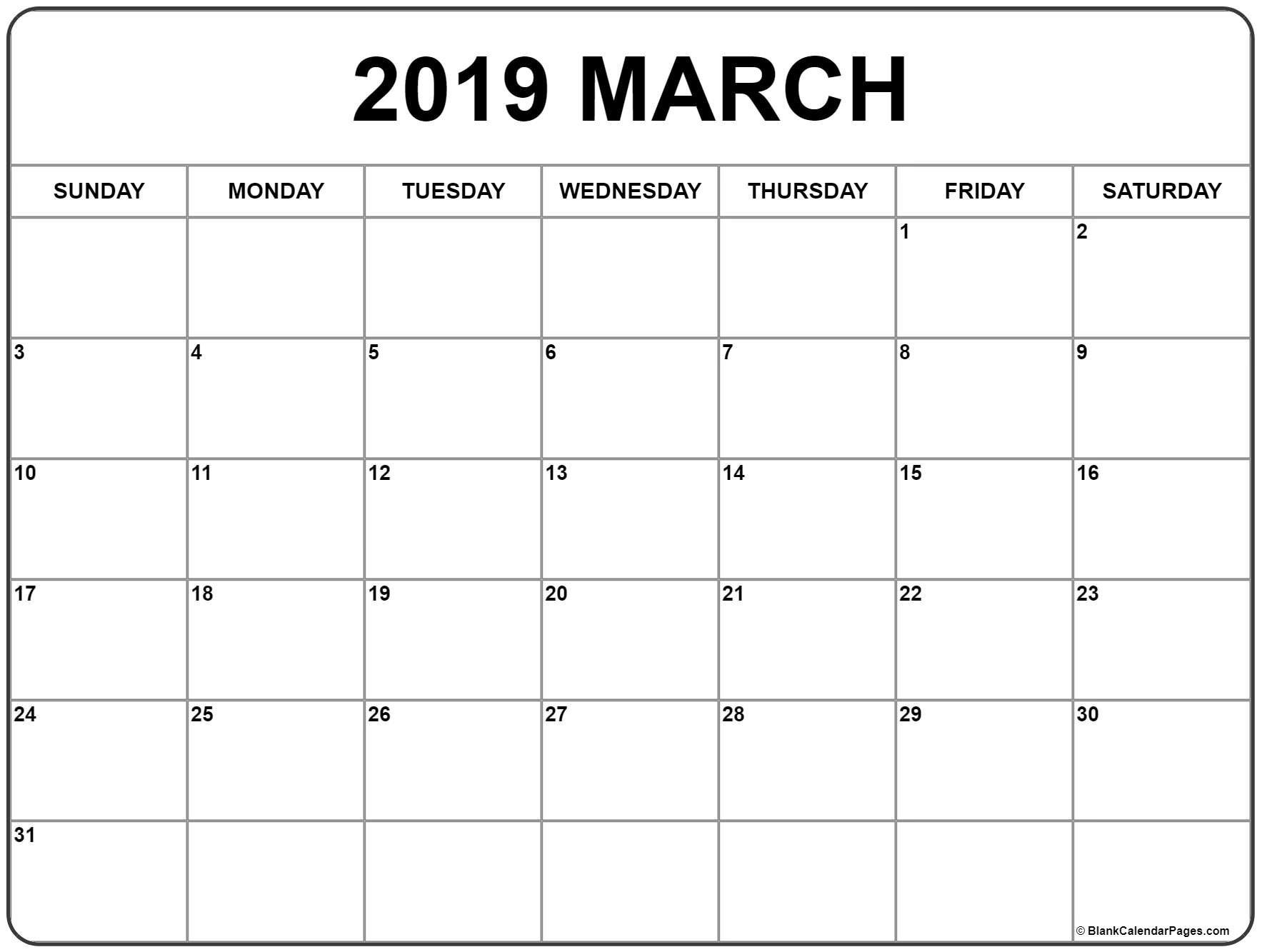 March 2019 Calendar   56+ Templates Of 2019 Printable Calendars Calendar 2019 Print Free