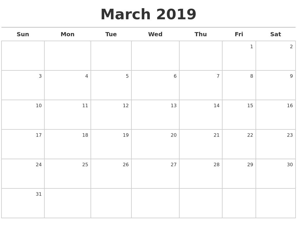 March 2019 Calendar Maker Calendar 2019 Maker