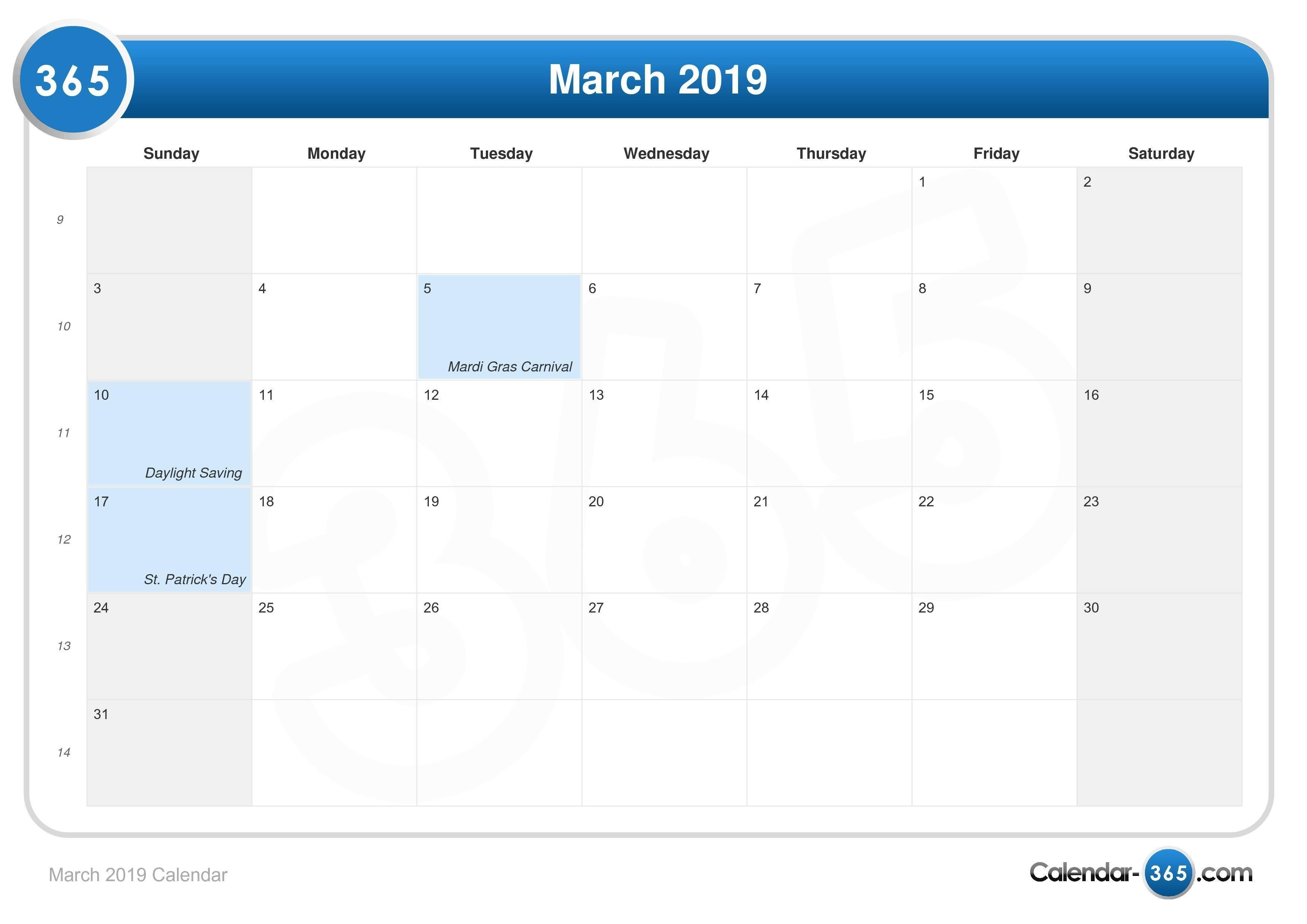 March 2019 Calendar March 9 2019 Calendar