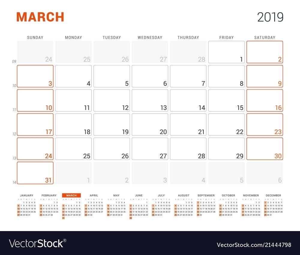 March 2019 Calendar Planner For 2019 Year Design Vector Image March 6 2019 Calendar