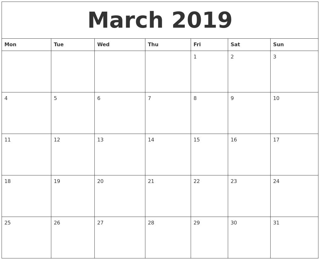 March 2019 Calendar Printable – Get March 2019 Printable Calendar Calendar 2019 Download Word