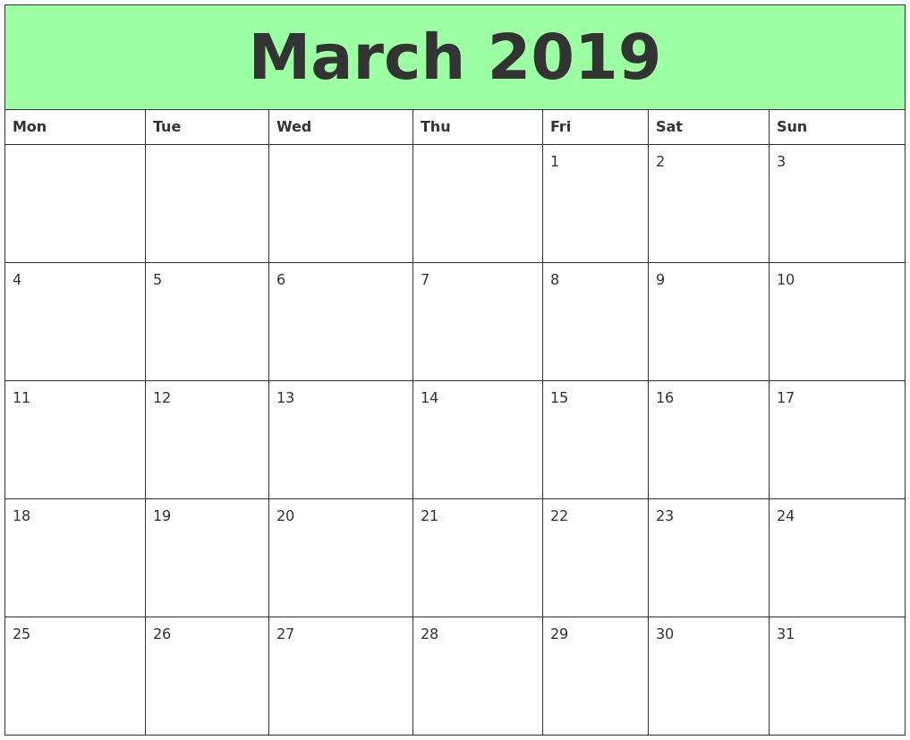 March 2019 Calendar Printable – Get March 2019 Printable Calendar Calendar 2019 Excel Starting Monday