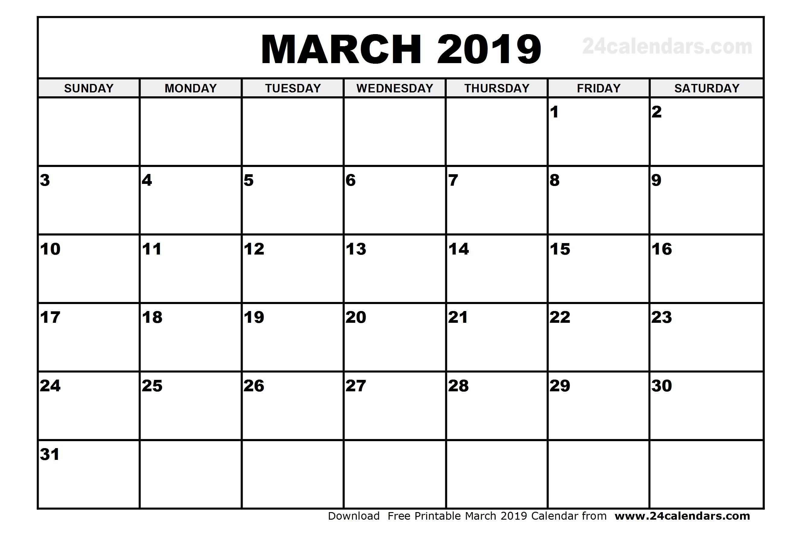 March 2019 Calendar – Printable Month Calendar March 1 2019 Calendar