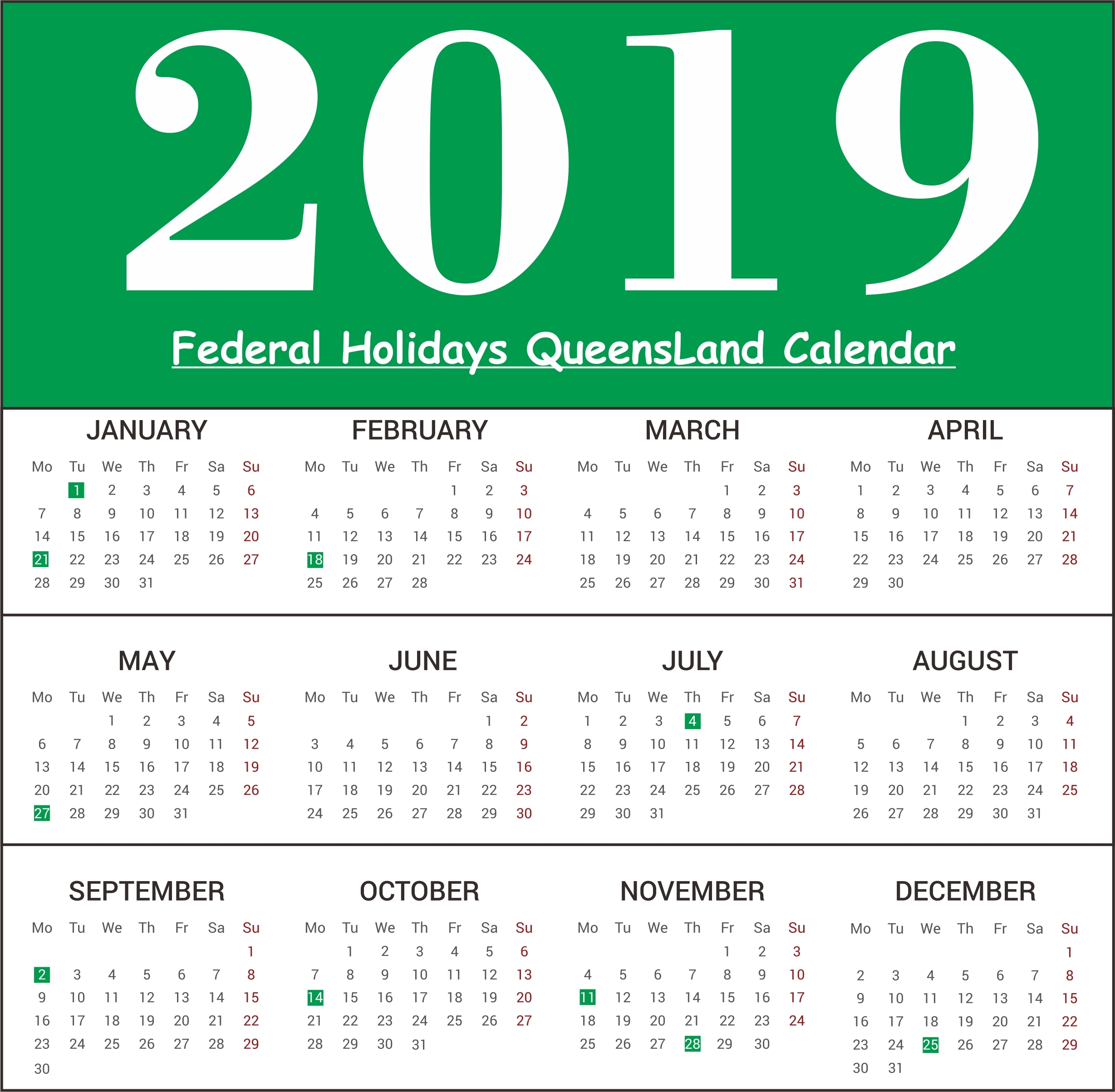 March 2019 Calendar Qld | Template Calendar Printable Calendar 2019 Qld