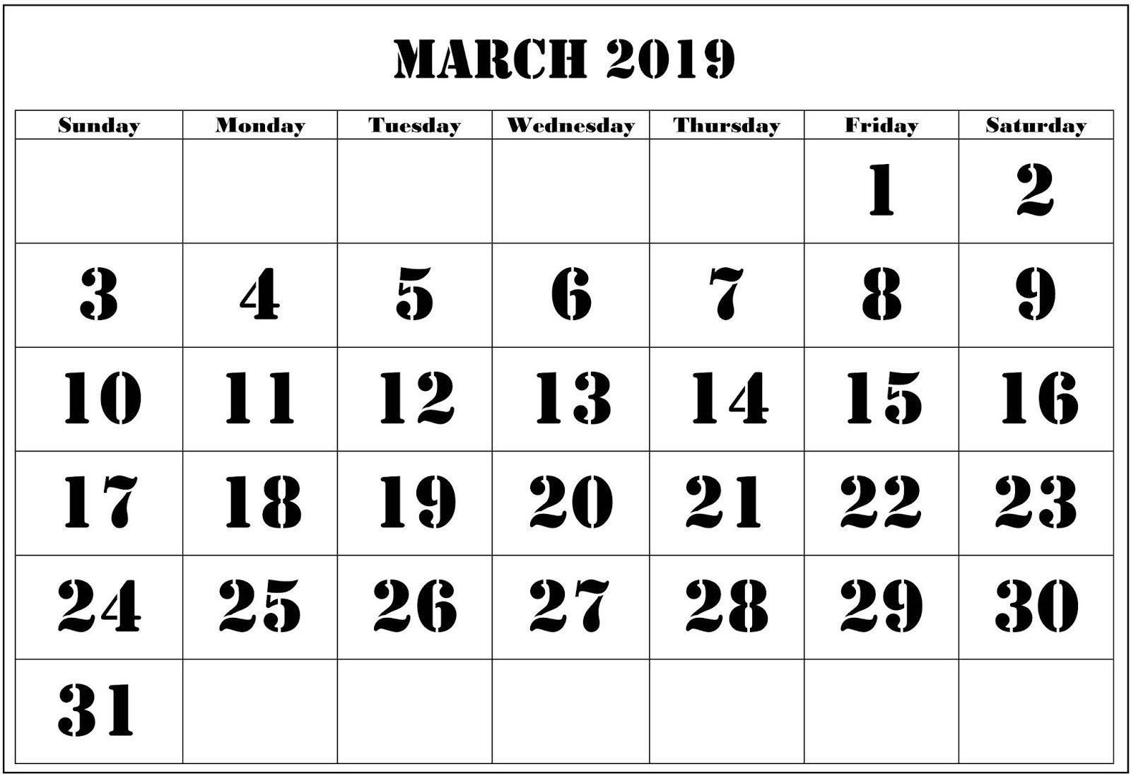 March 2019 Calendar Template Download March 2 2019 Calendar