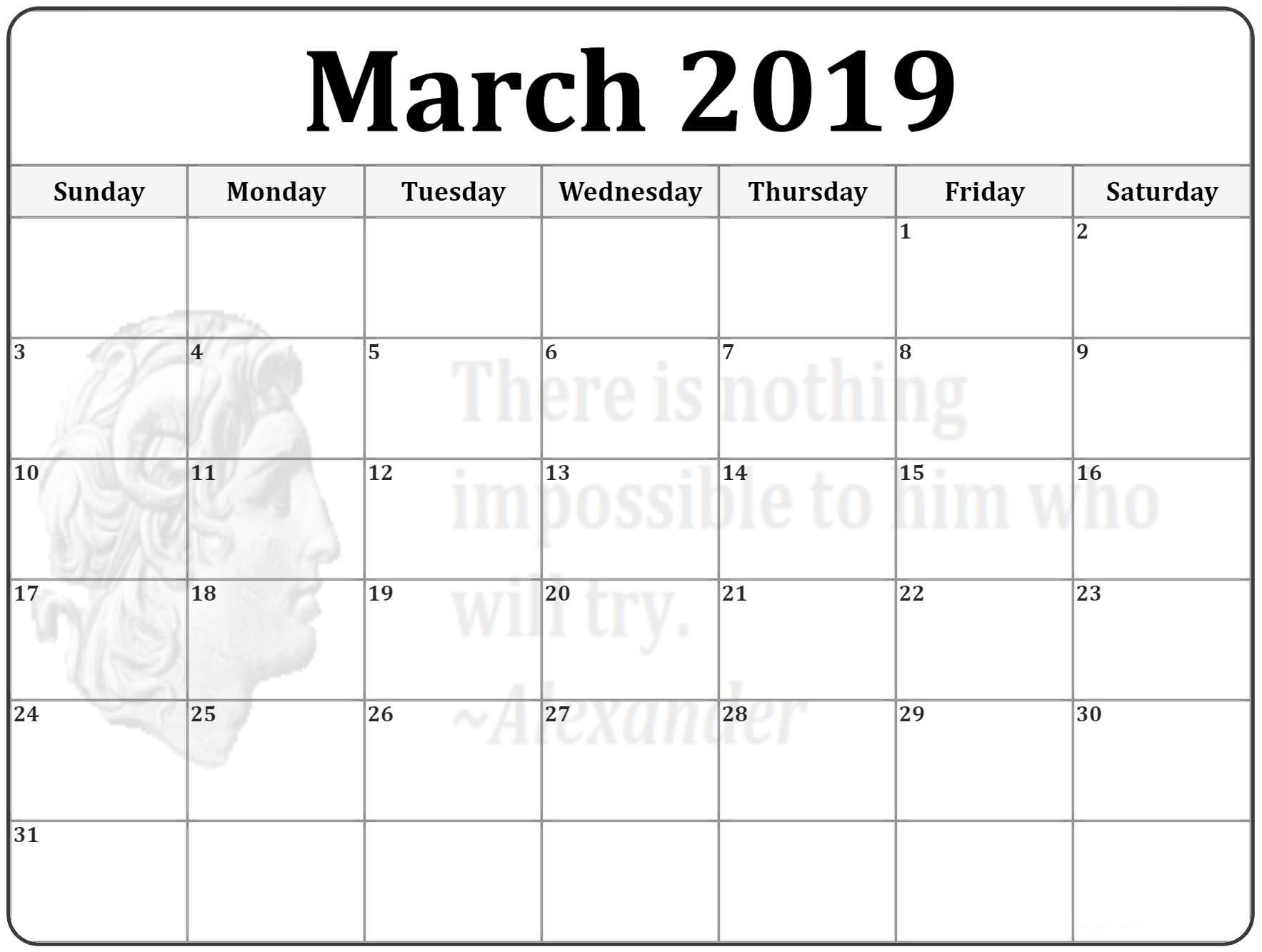 March 2019 Printable Calendar Pdf, Excel And Word – March 2019 Calendar 2019 Schedule