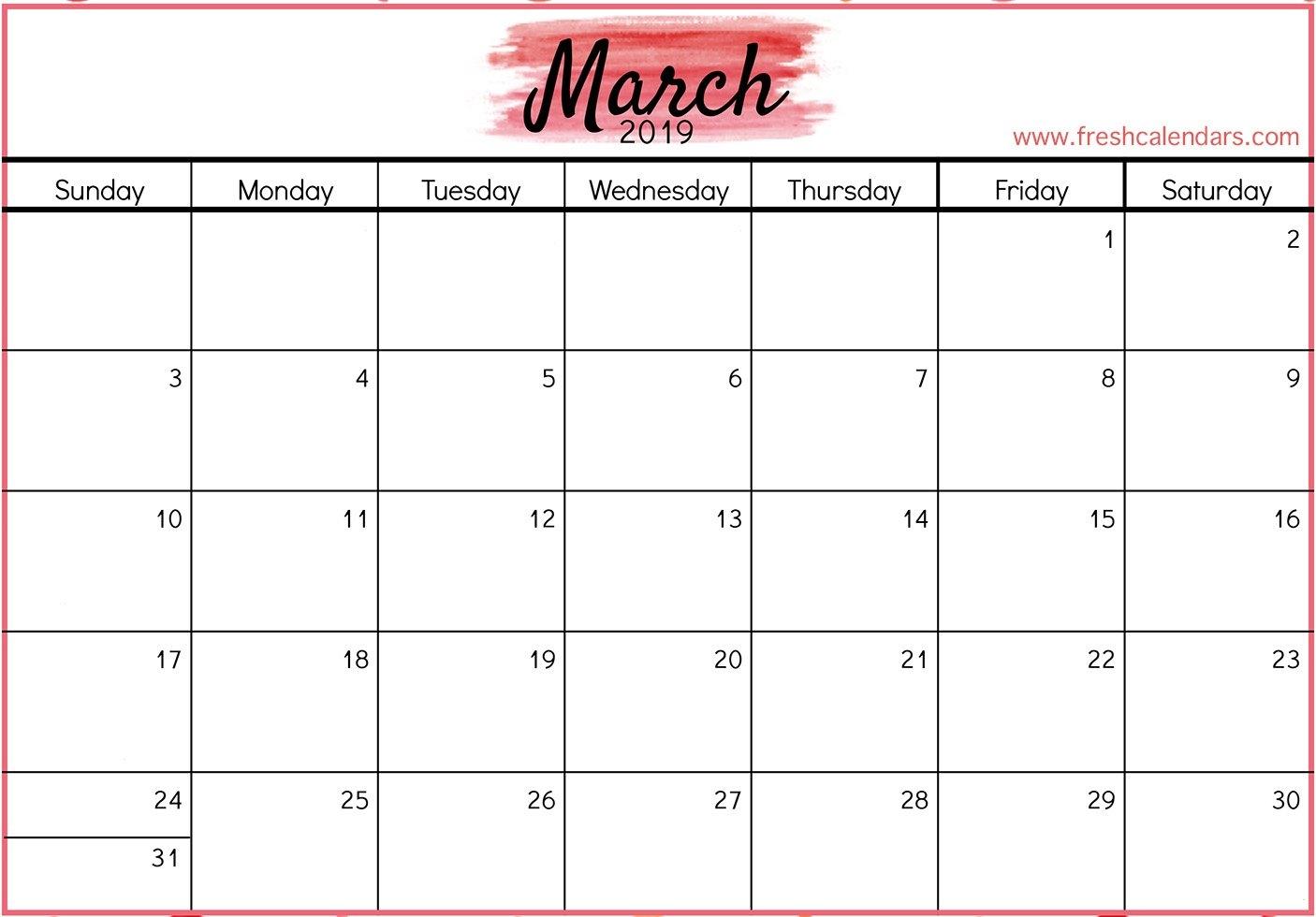 March 2019 Printable Calendars – Fresh Calendars A Calendar For March 2019