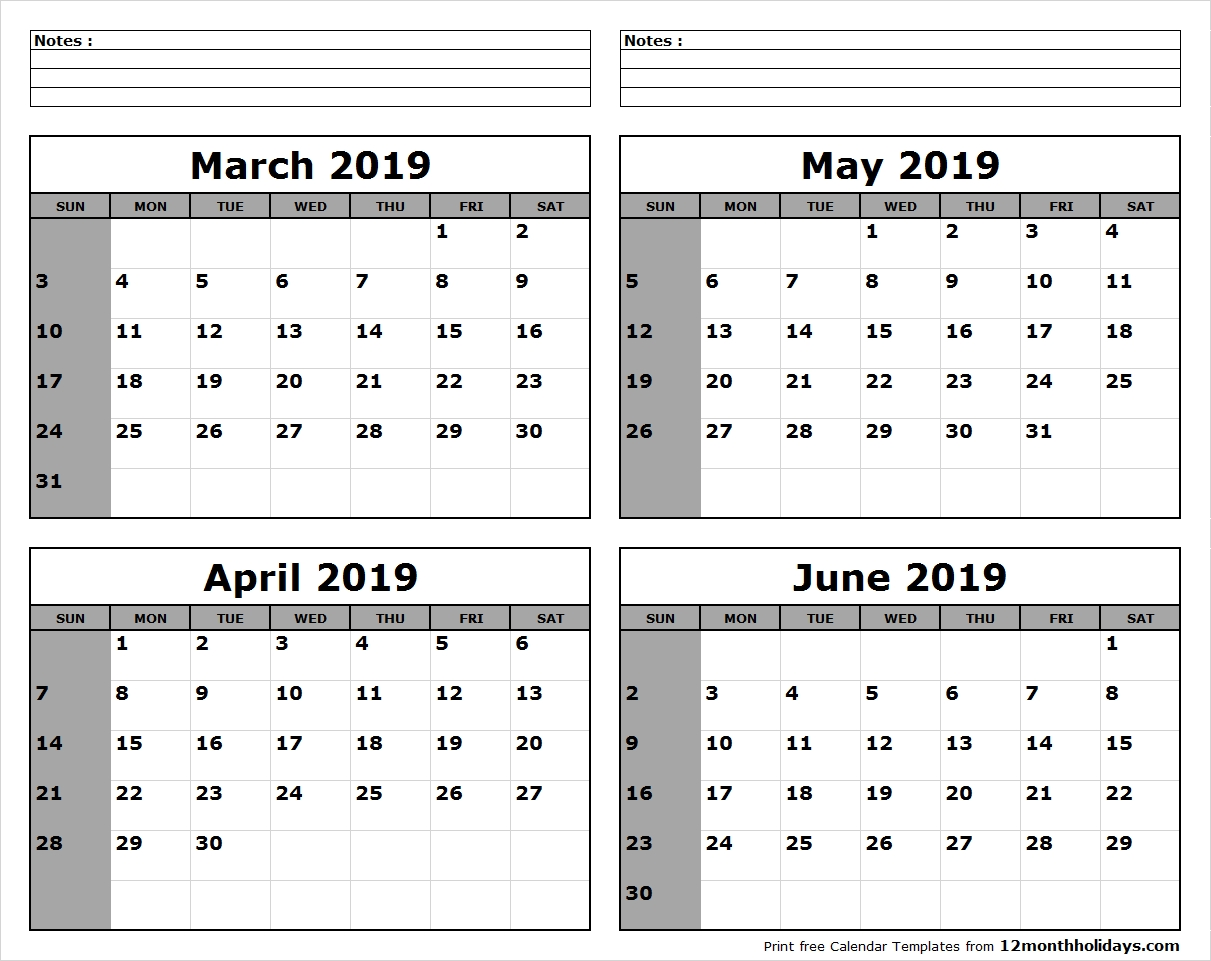 March April May June 2019 Calendar To Print #april #may #june Calendar 2019 May June