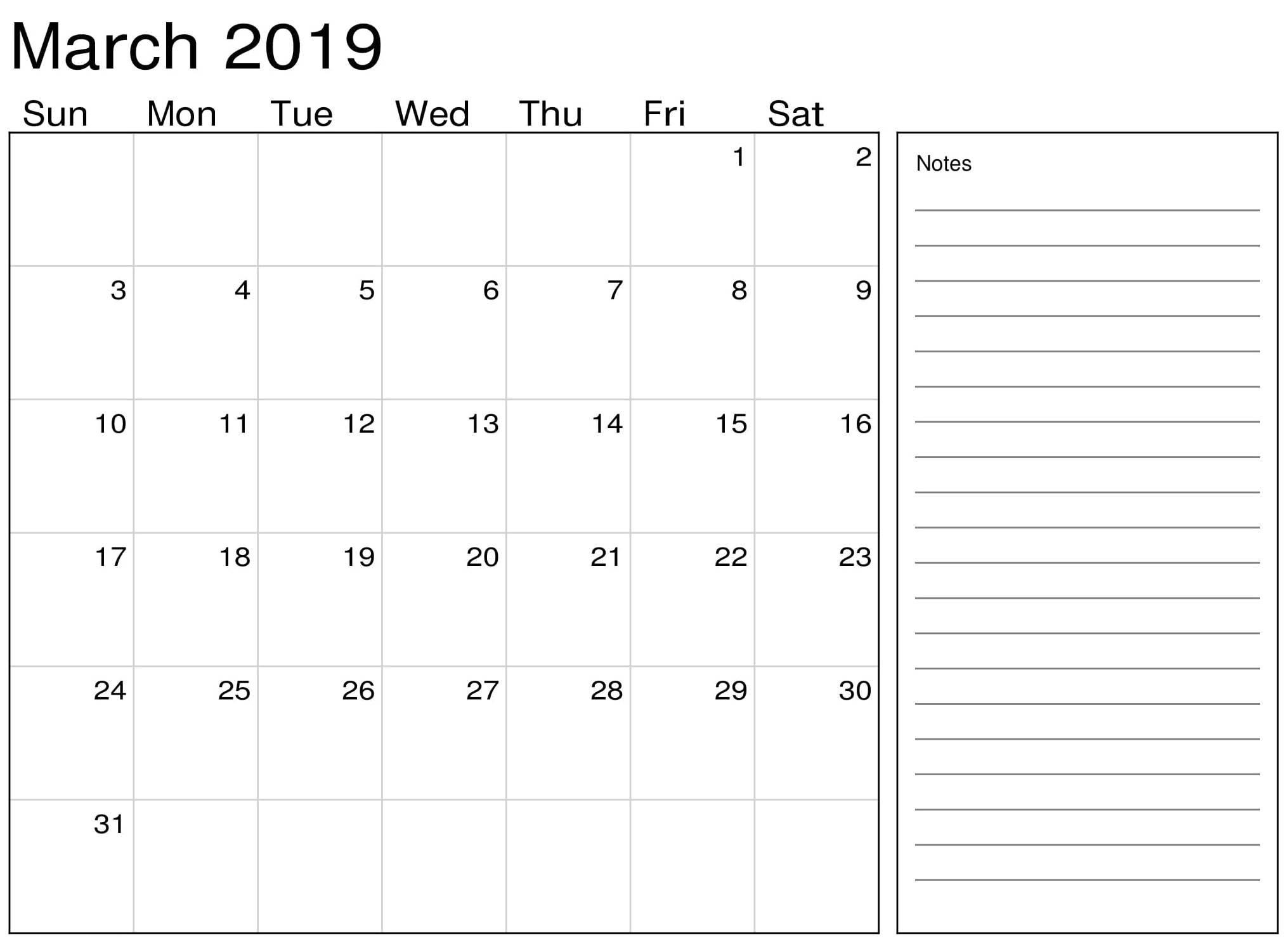 March Calendar 2019 With Notes – Printable Calendar Templates Calendar 2019 Notes