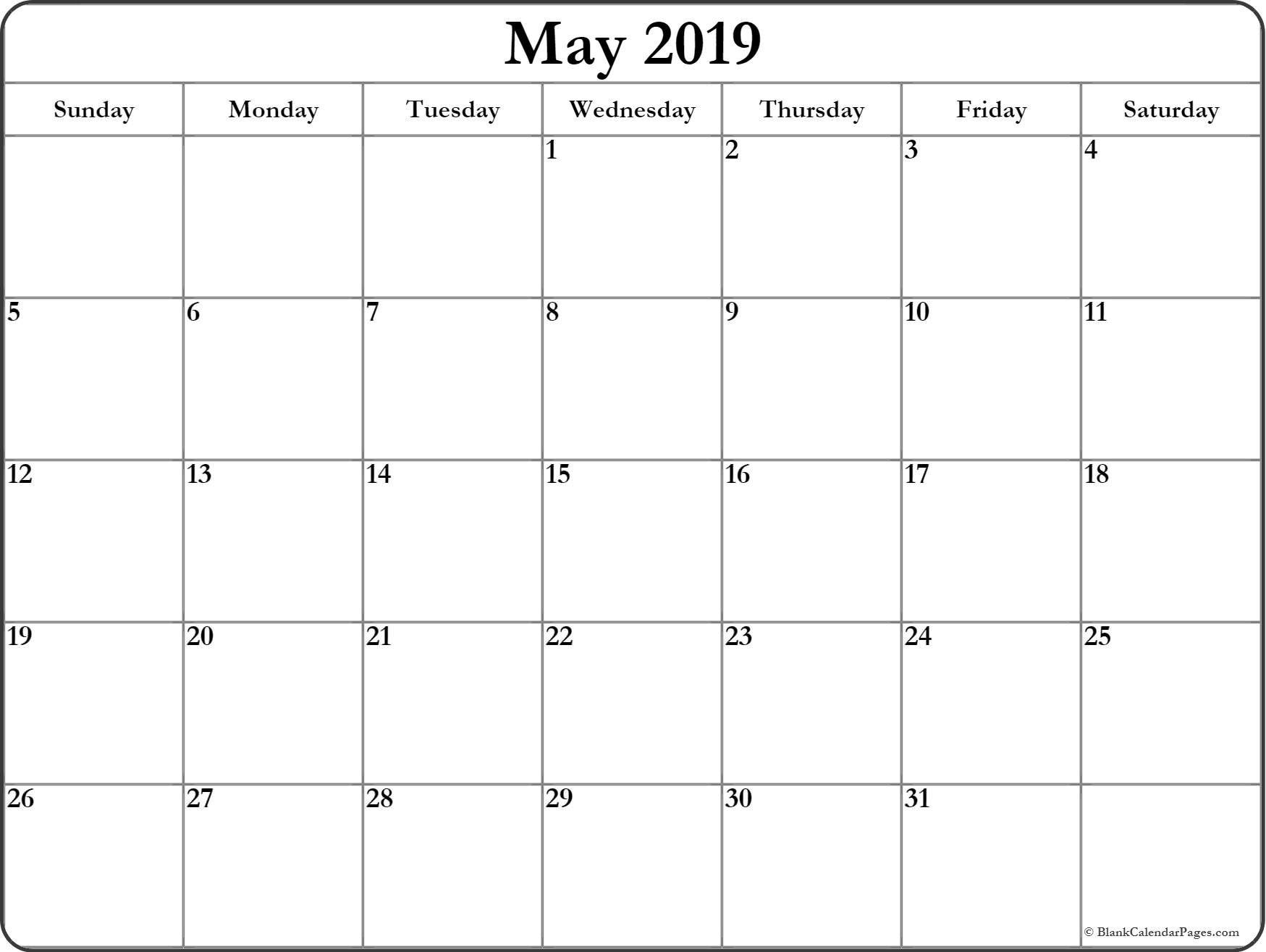 May 2019 Blank Calendar Collection. May 1 2019 Calendar