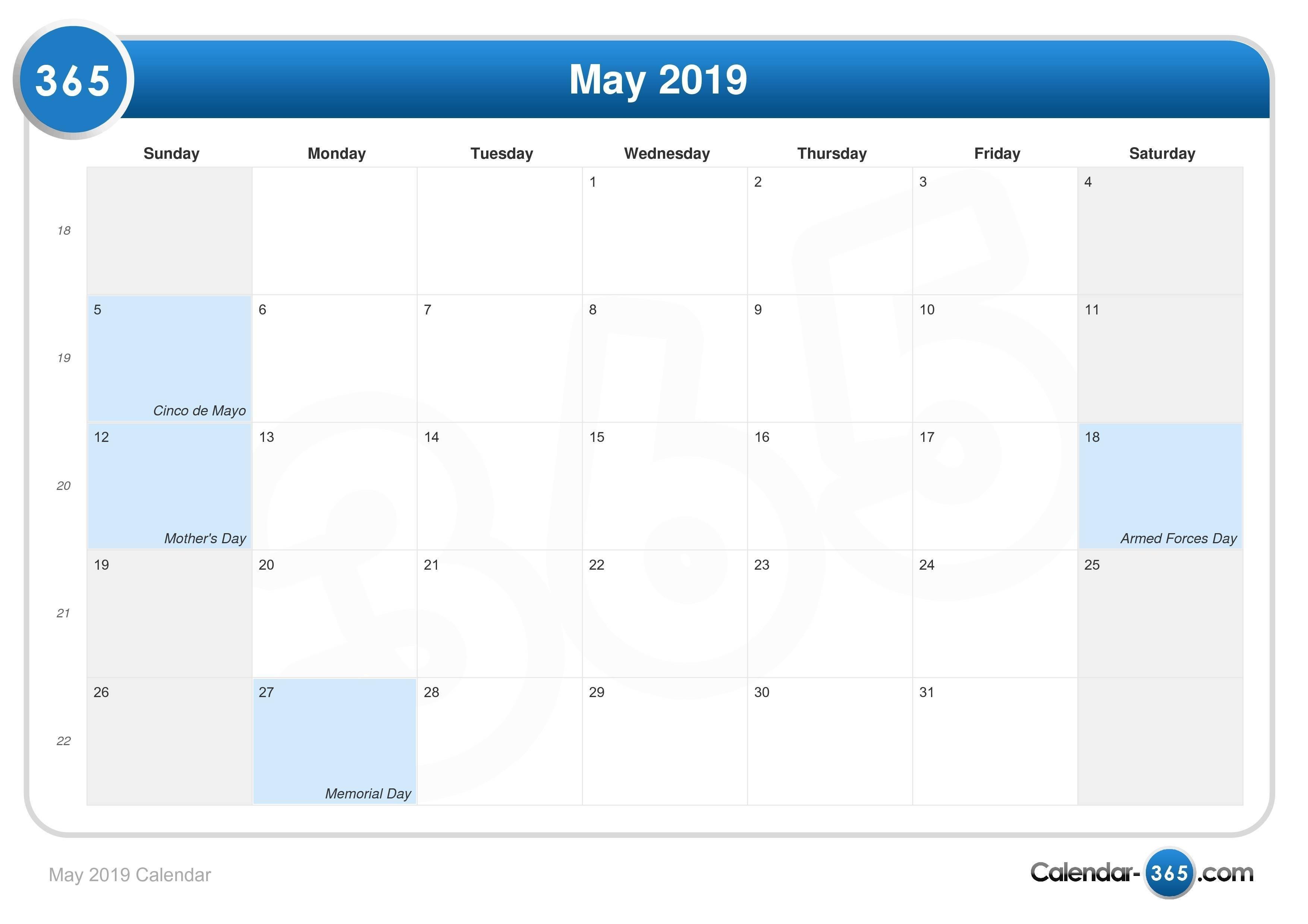May 2019 Calendar Calendar 1/2019