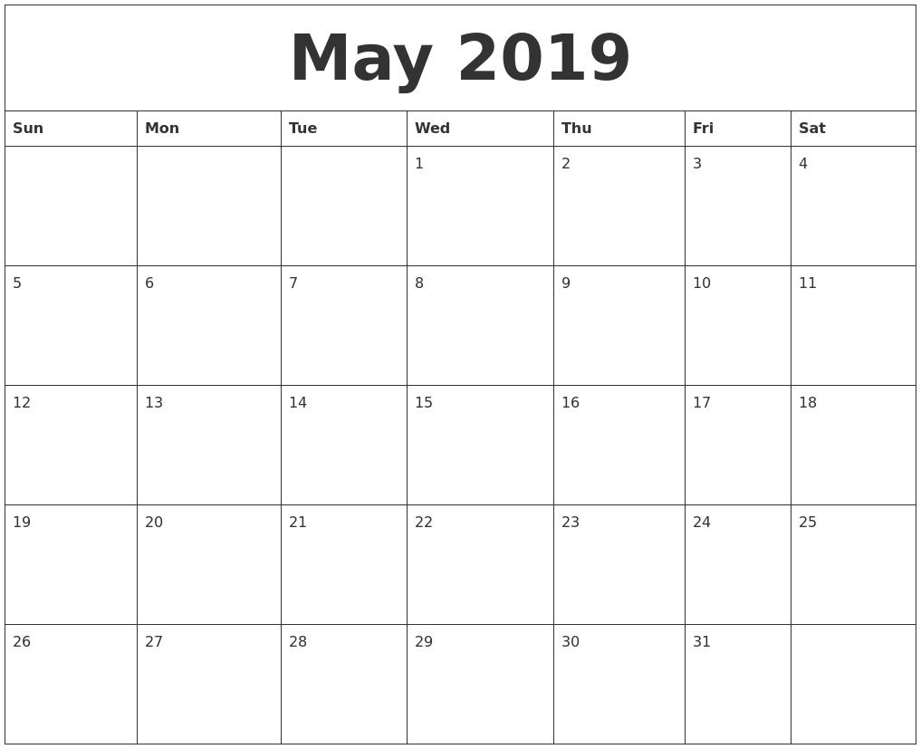 May 2019 Calendar Calendar Of 2019 May