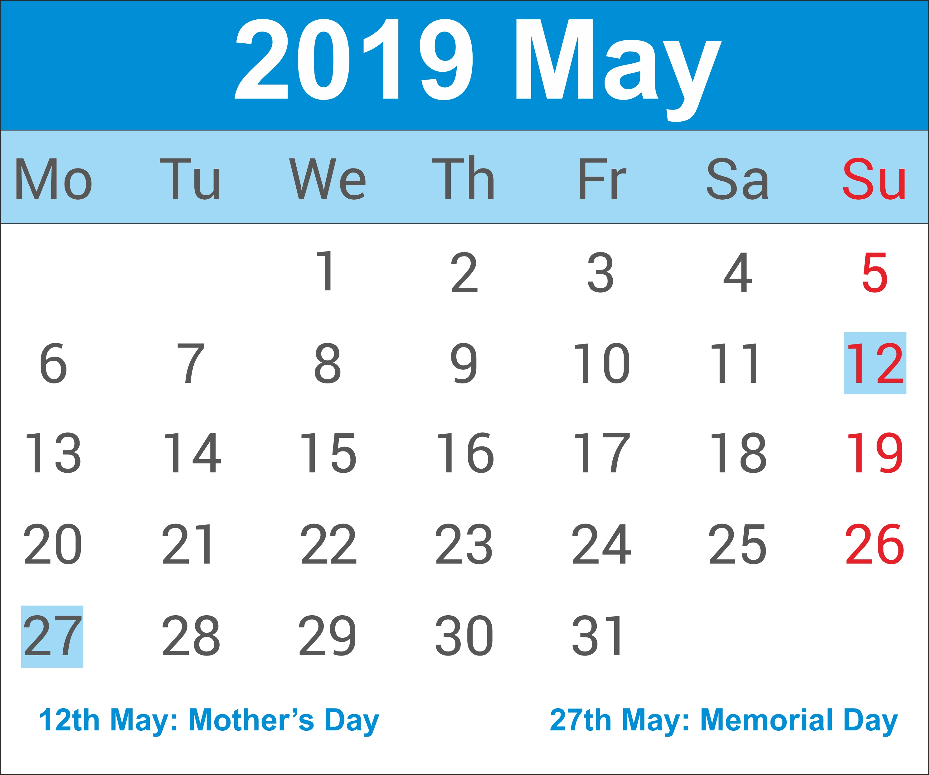 May 2019 Calendar   May Calendar 2019, May 2019 Printable Calendar May 6 2019 Calendar