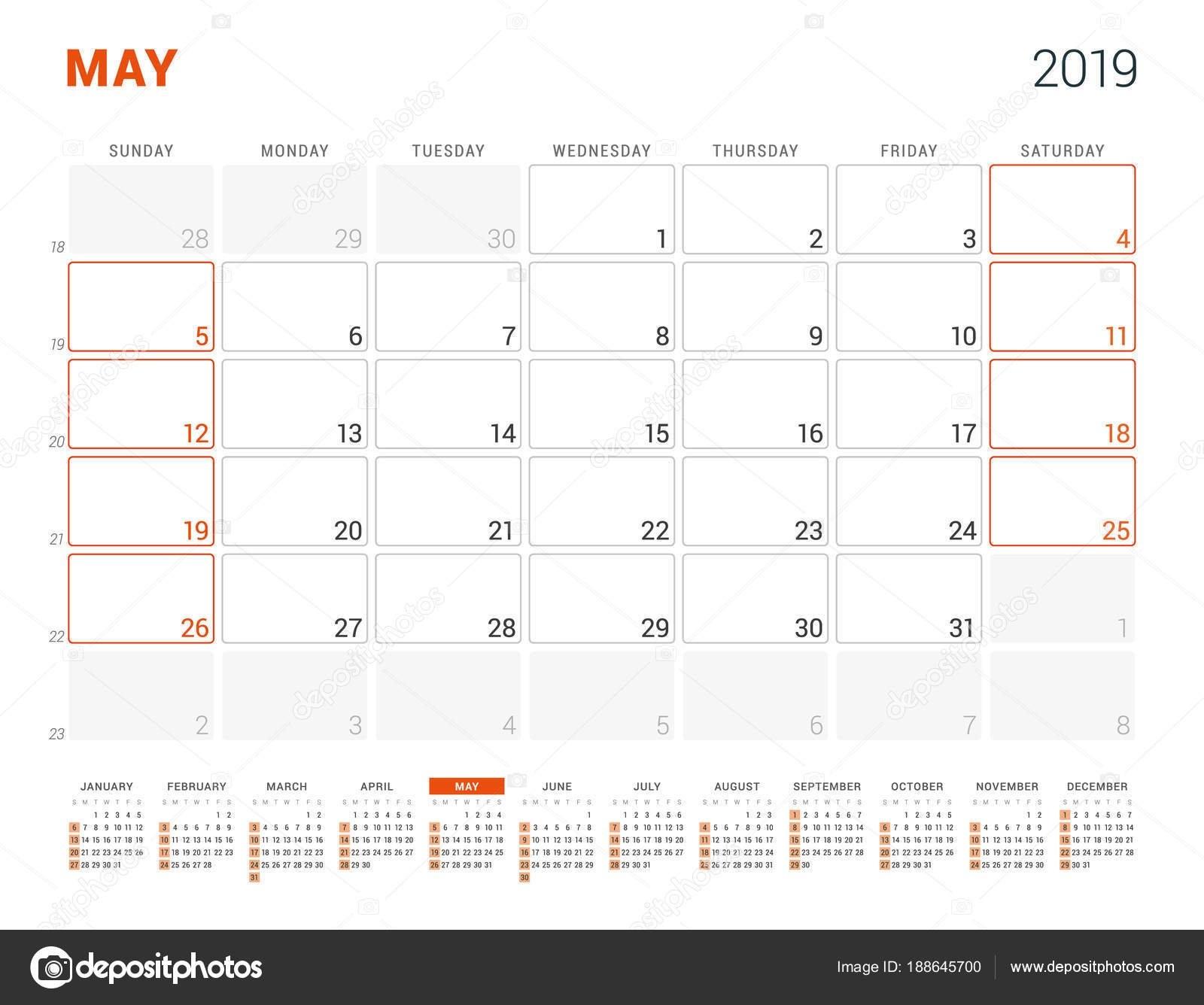 May 2019. Calendar Planner For 2019 Year. Vector Design Print May 9 2019 Calendar