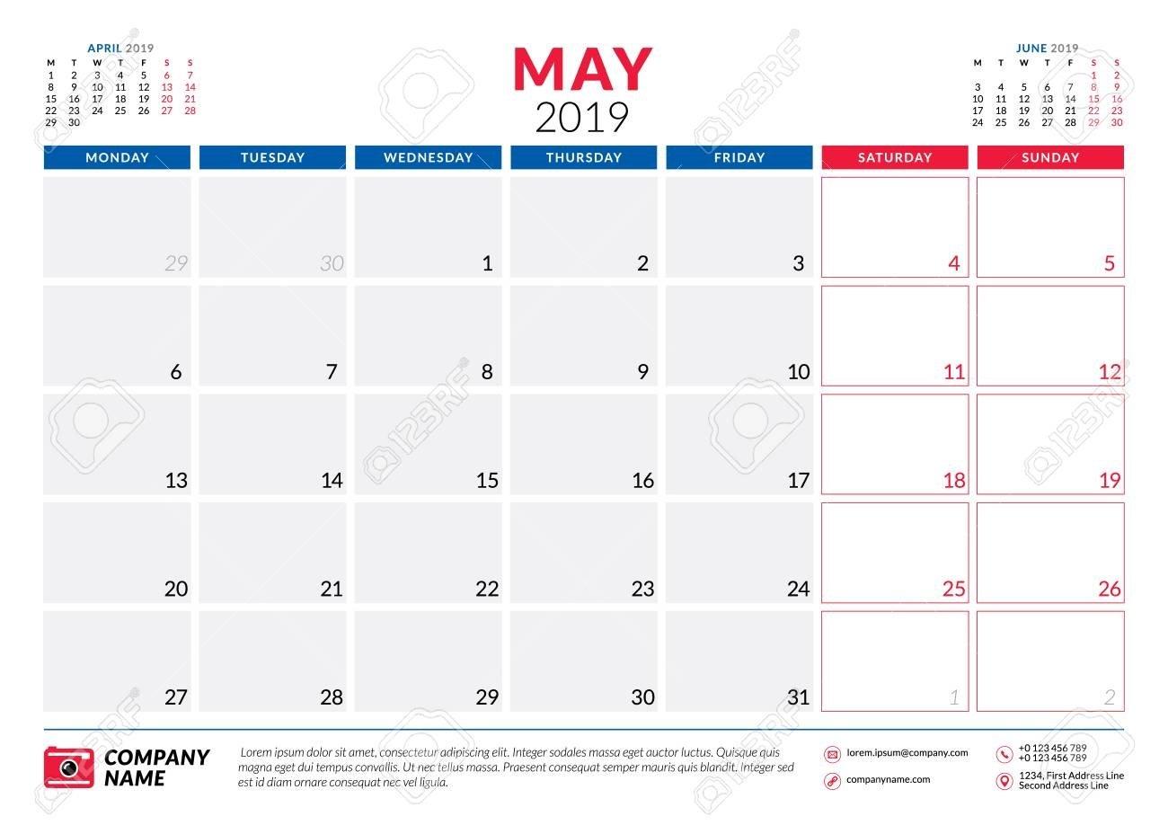 May 2019. Calendar Planner Stationery Design Template. Vector May 3 2019 Calendar
