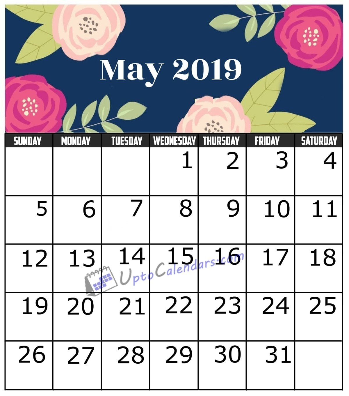 May 2019 Calendar Printable Template With Holidays Pdf Word Excel May 9 2019 Calendar