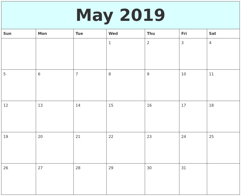 May 2019 Free Calendar Calendar May 3 2019