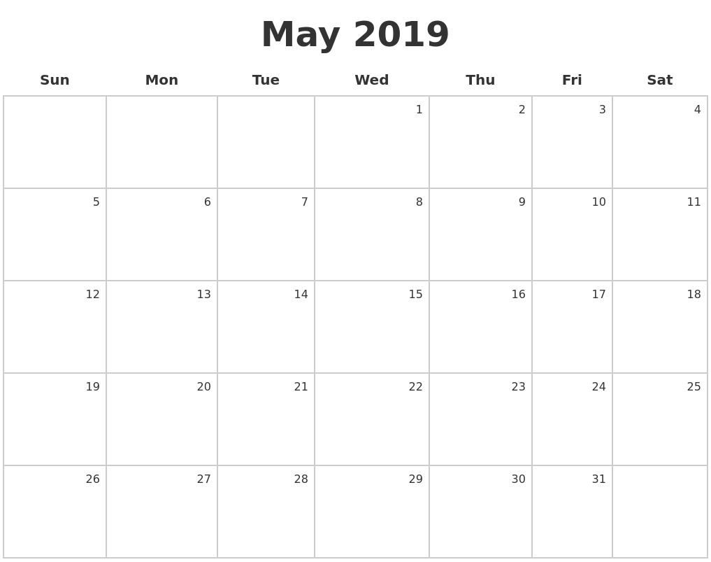 May 2019 Make A Calendar Calendar 2019 May June