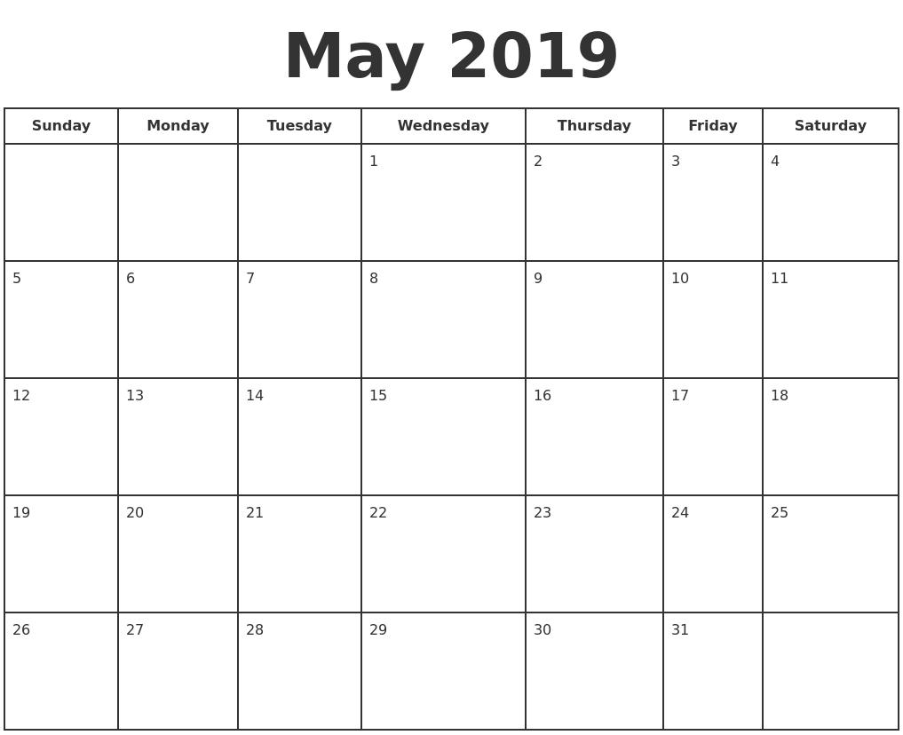 May 2019 Print A Calendar Calendar 2019 Days