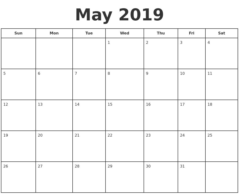 May 2019 Print A Calendar Calendar 2019 For Print
