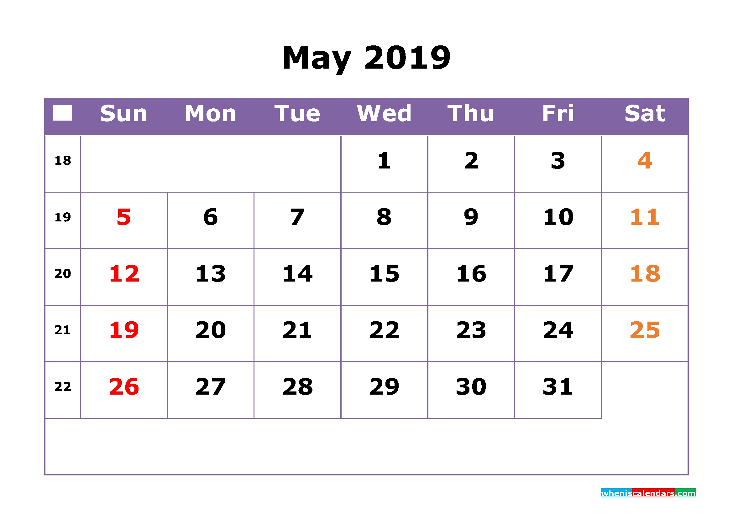 May 2019 Printable Calendar With Week Numbers For Free Download Calendar 2019 With Week Numbers