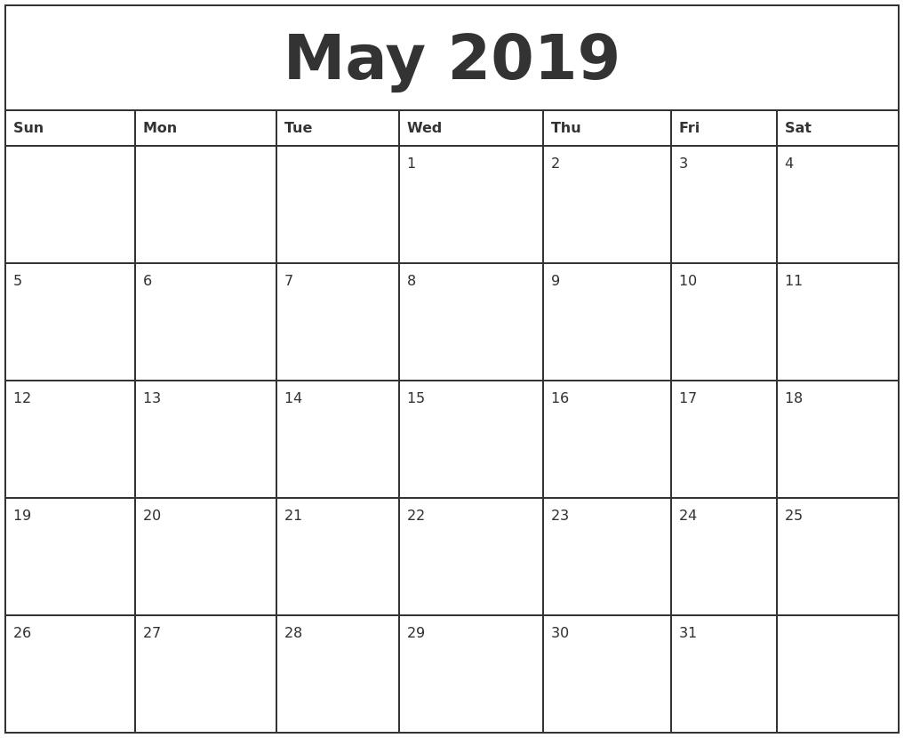 May 2019 Printable Monthly Calendar Calendar 2019 Printable Monthly