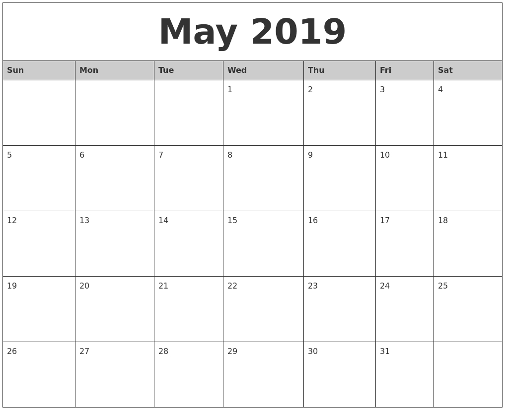 May 2019 Word Calendar – Free Printable Calendar 2018 Calendar 2019 Download Word