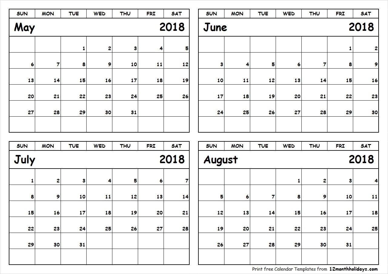 May June July August 2018 Calendar To Print In May June July August Calendar 2019 June July August