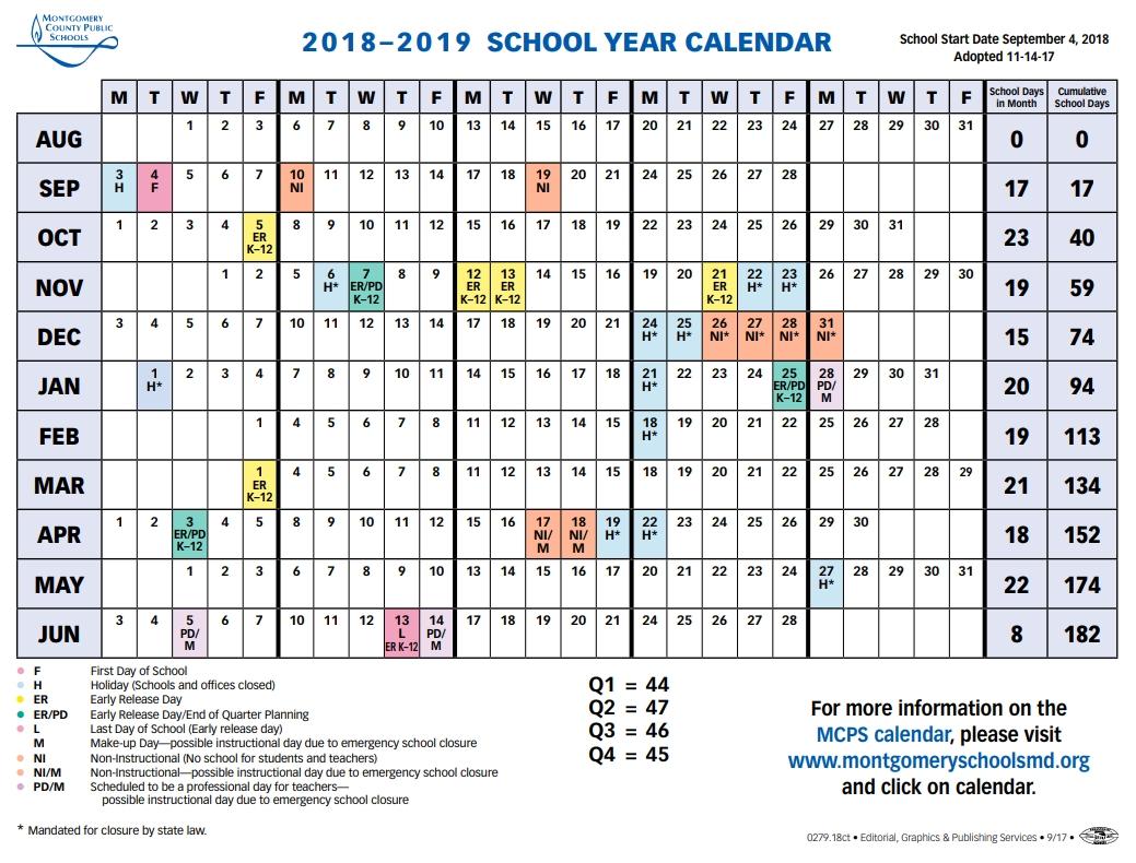 Mcps Sets 2018 2019 Calendar, Shortens Spring Break – The Current W&m Calendar 2019