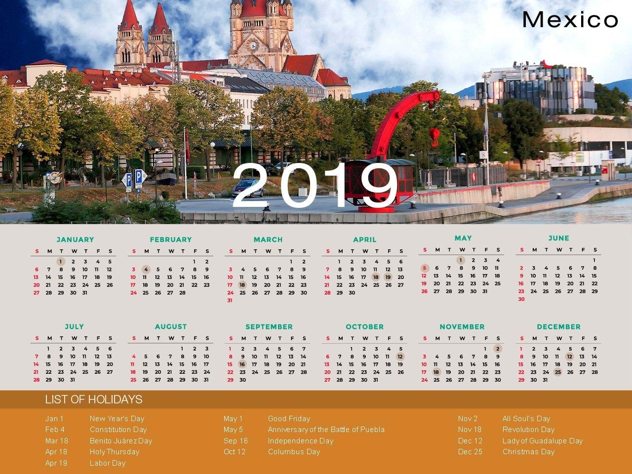 Mexico Holiday Calendar 2019 Calendar 2019 Mexico