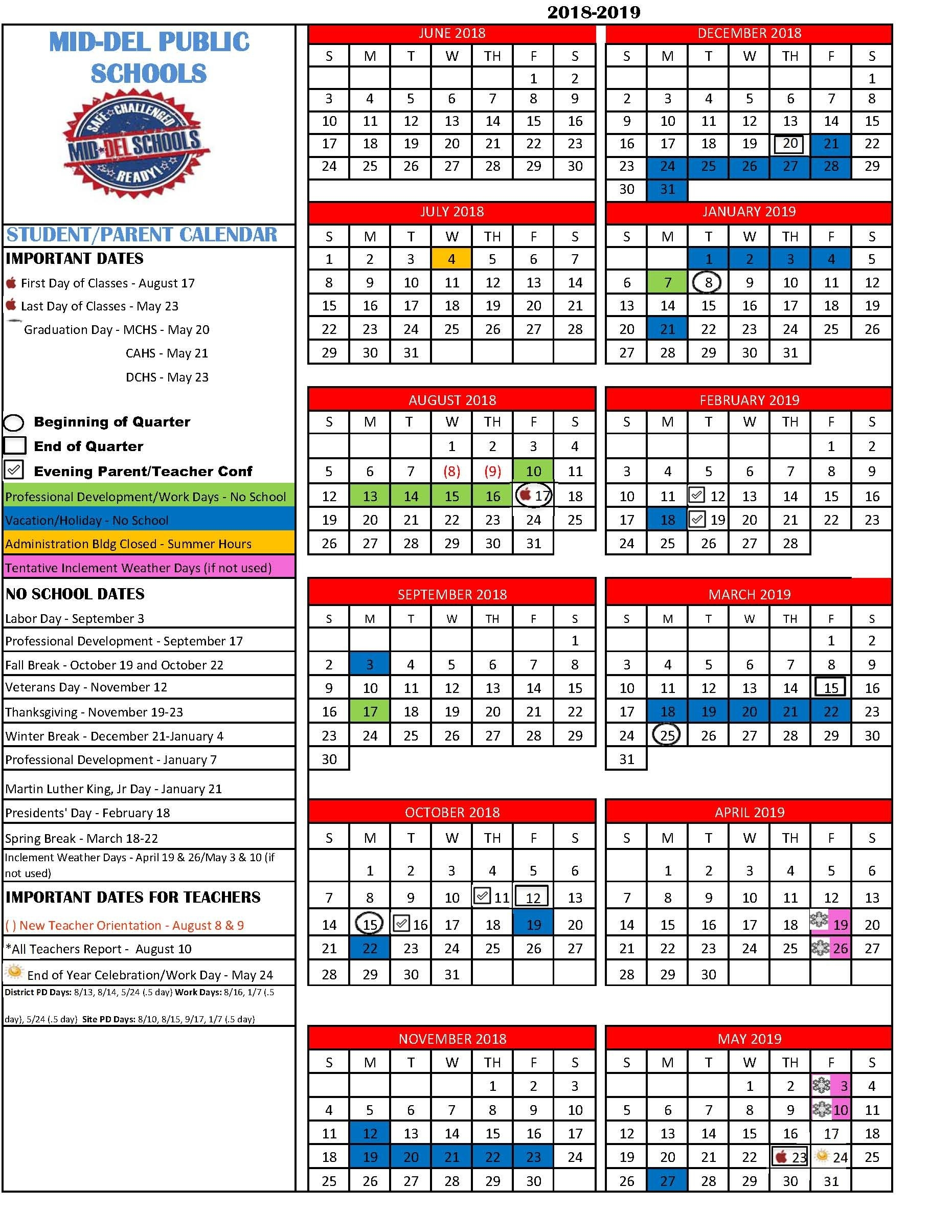 Mid Del School District Calendar 2019 19