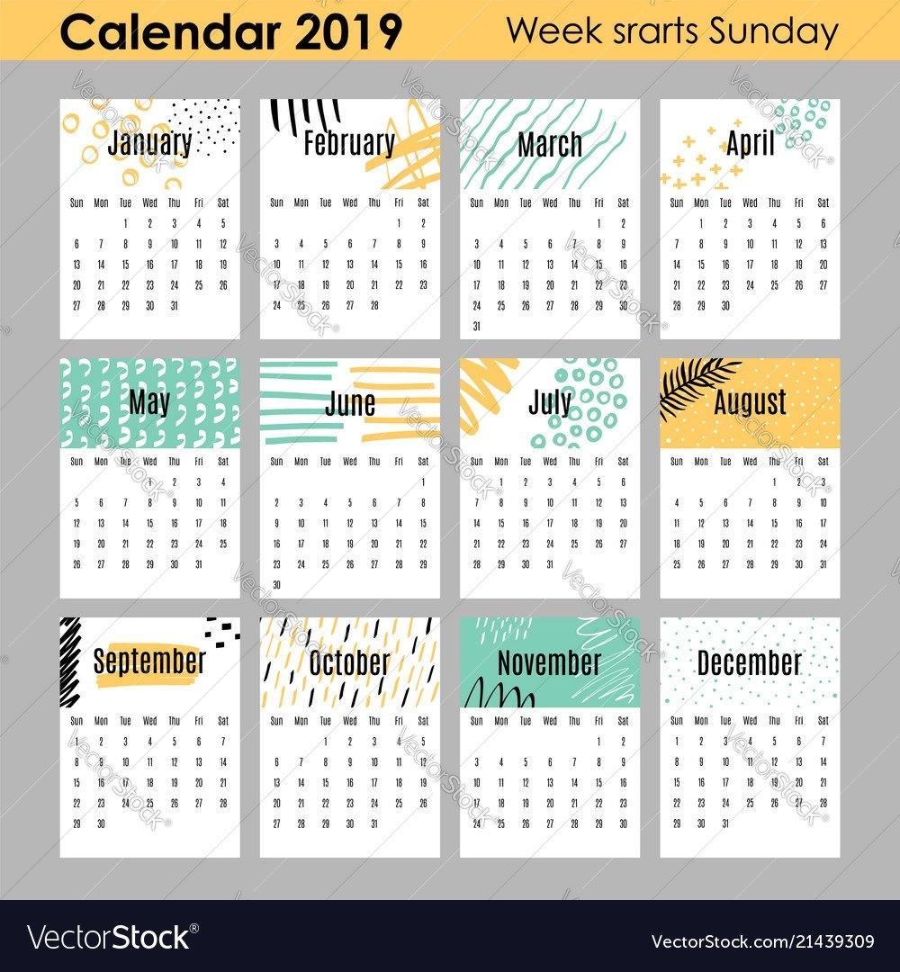 Modern Creative Calendar 2019 12 Design Templates Vector Image Calendar 2019 Design