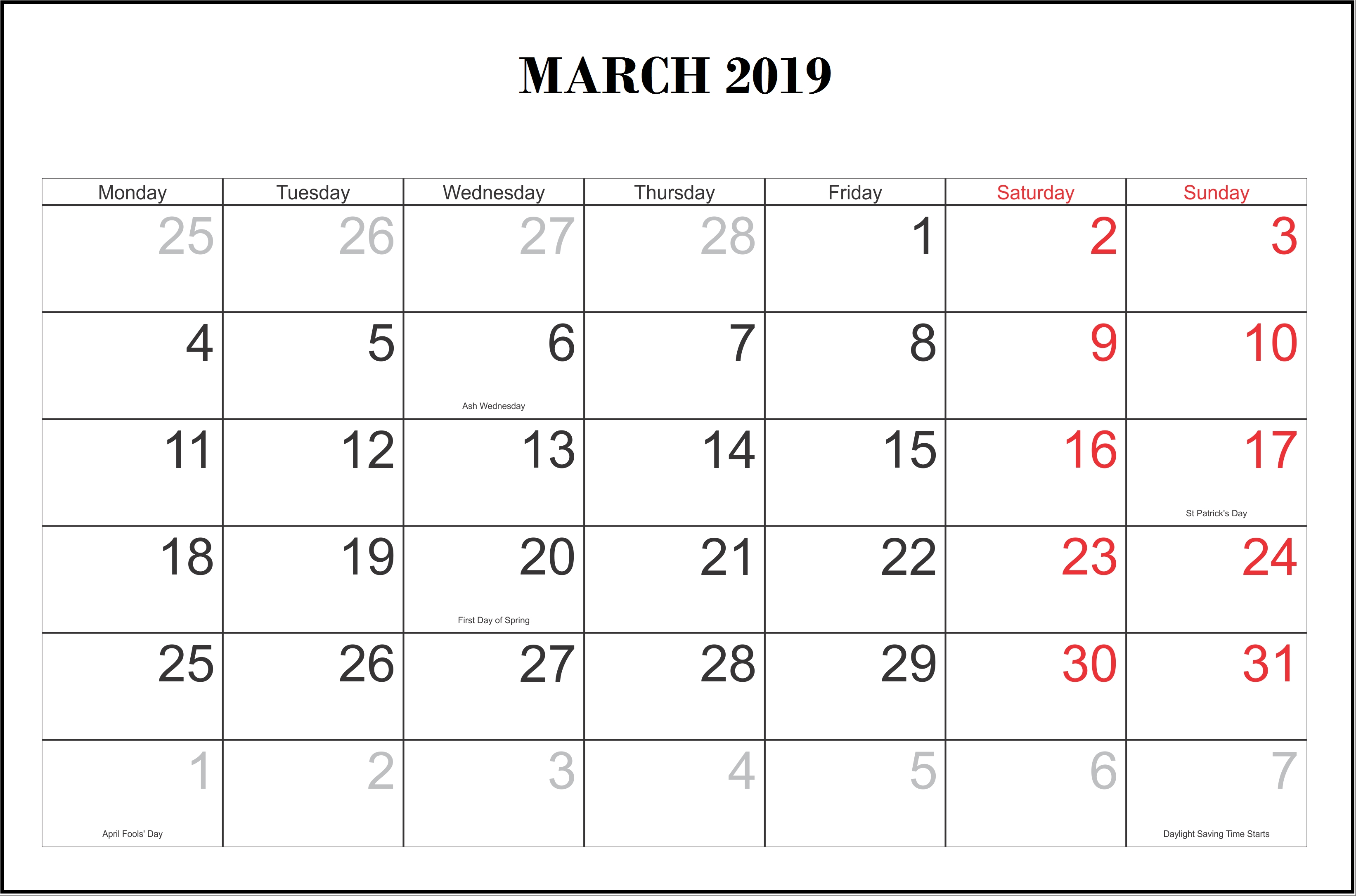 Monthly 2019 Calendar Templates March   Monthly Calendar Templates Calendar 2019 Maker