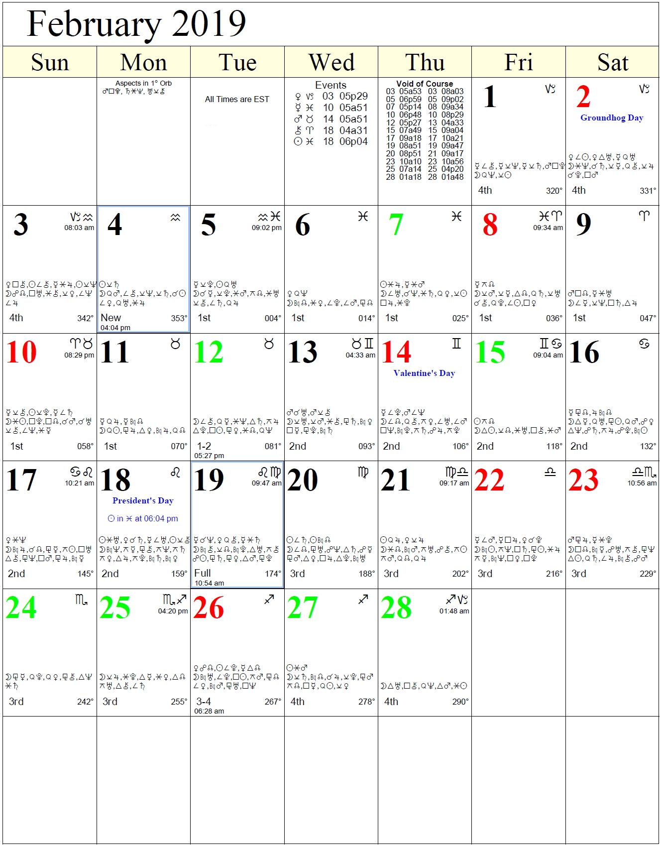 Monthly Astrology Calendars February 4 2019 Calendar