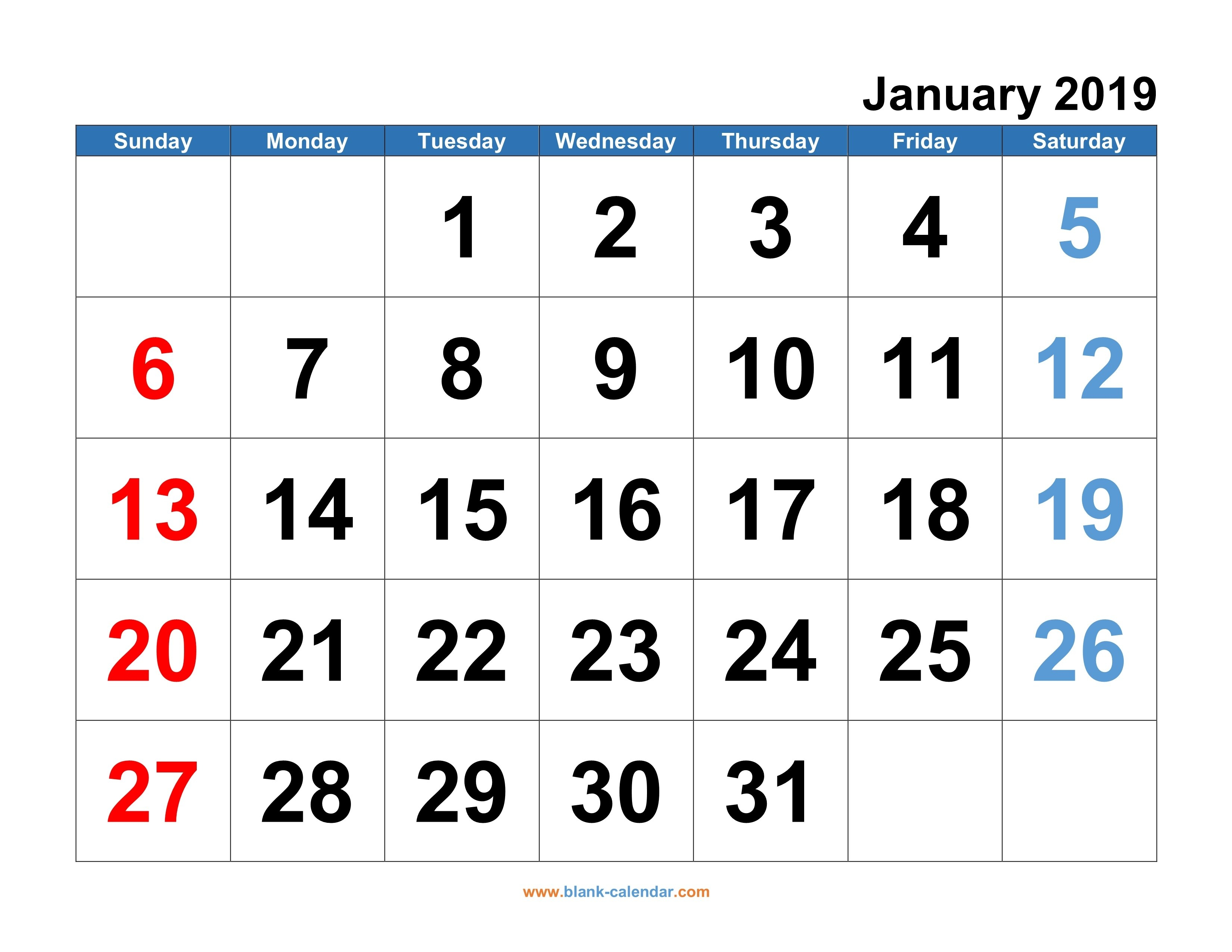 Monthly Calendar 2019   Free Download, Editable And Printable Calendar 2019 Free Download