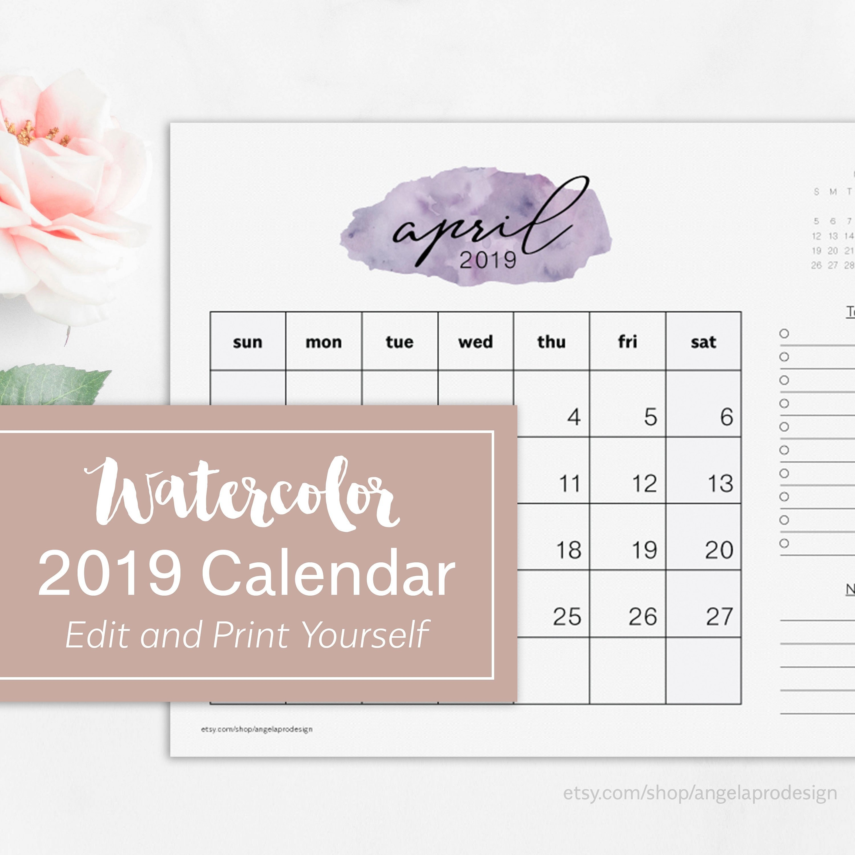 Monthly Calendar 2019 Printable Editable 2019 Calendar Pdf | Etsy Calendar 2019 Etsy