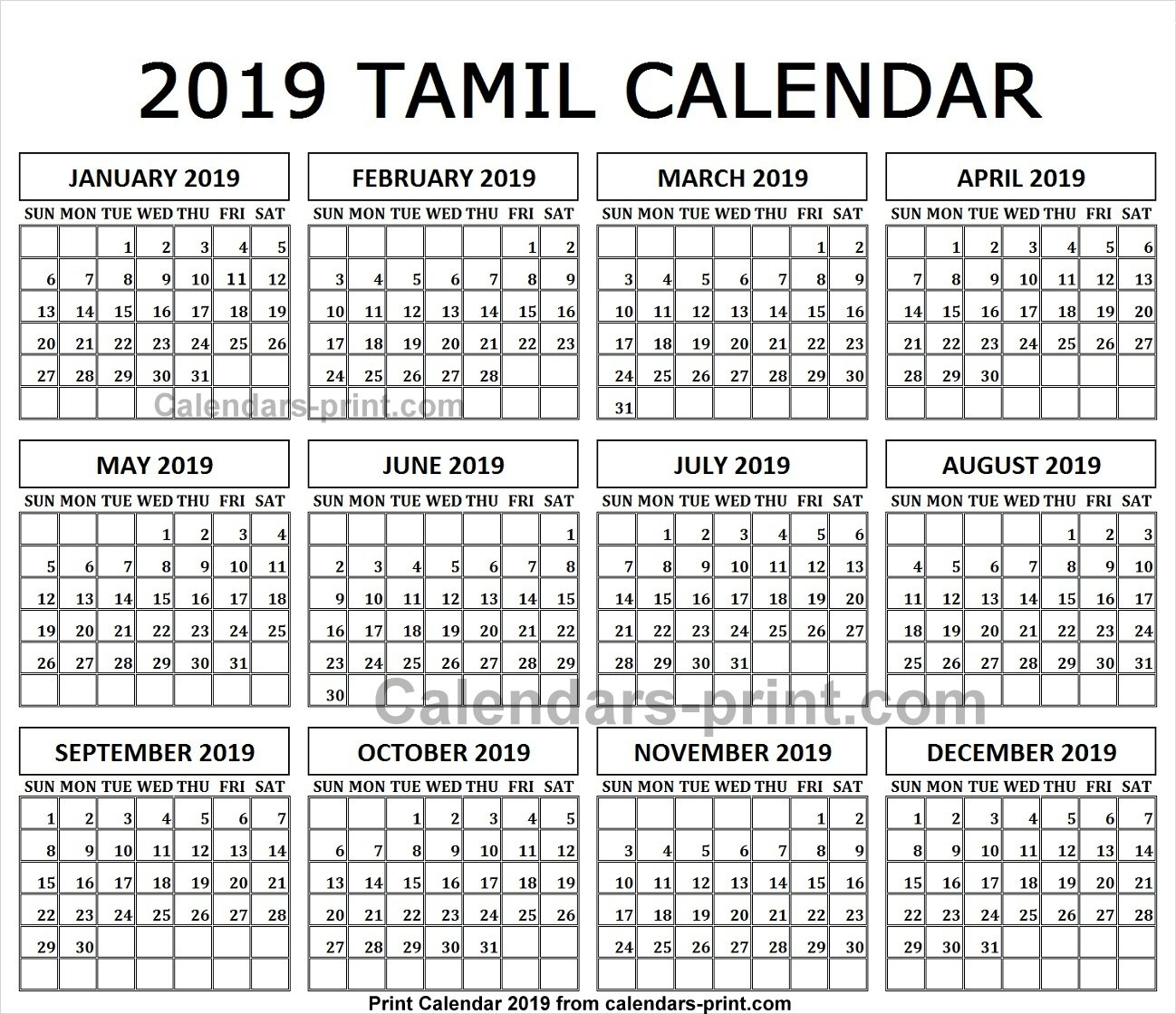 Monthly Calendar 2019 Tamil Printable Template With Notes   Holidays Calendar 2019 Tamil