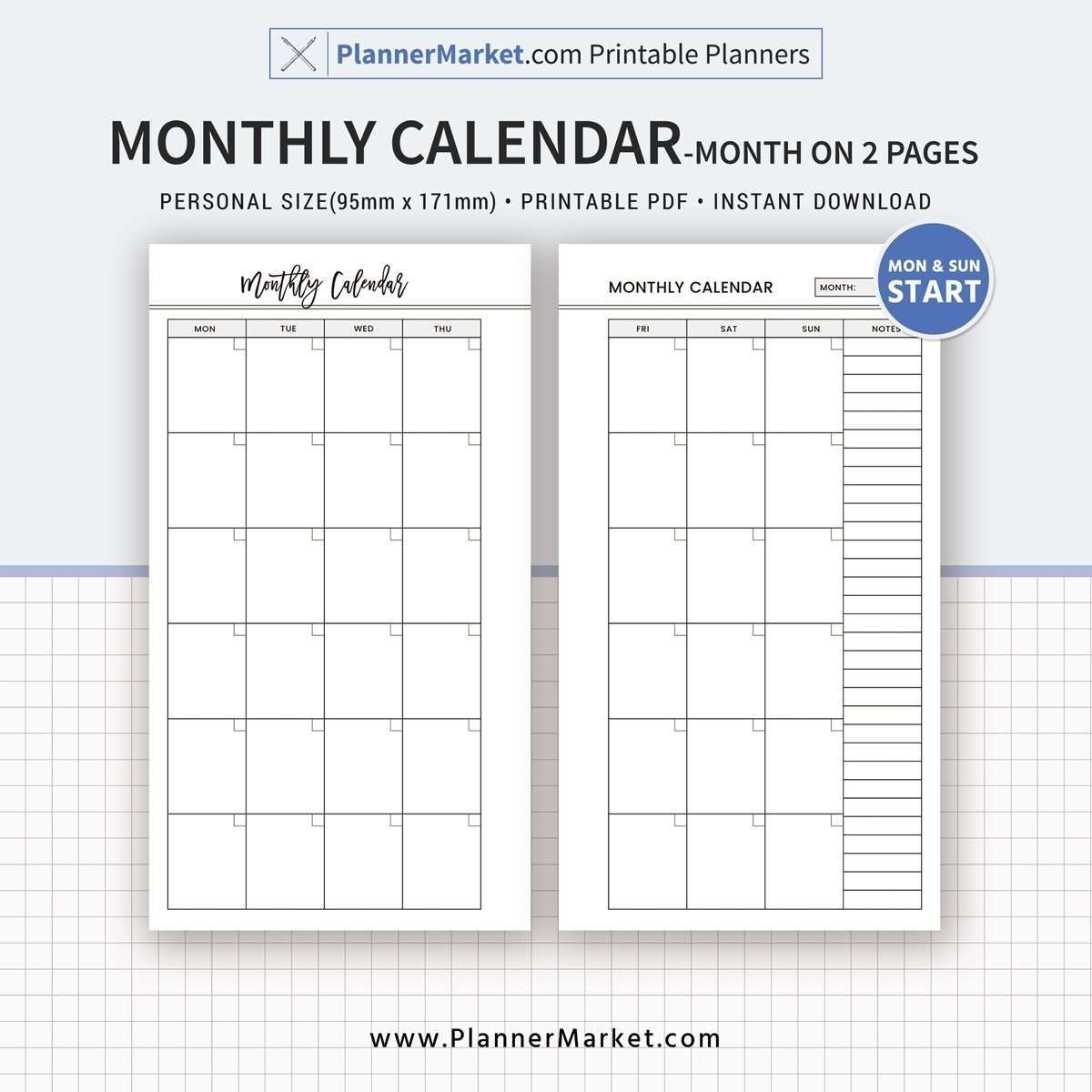 Monthly Calendar, Month On 2 Pages, 2019 Planner, Personal Size 2 2 Month Calendar 2019