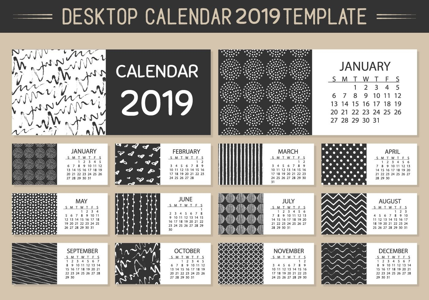 Monthly Desktop Calendar 2019 Vector Template – Download Free Vector Calendar 2019 Desktop