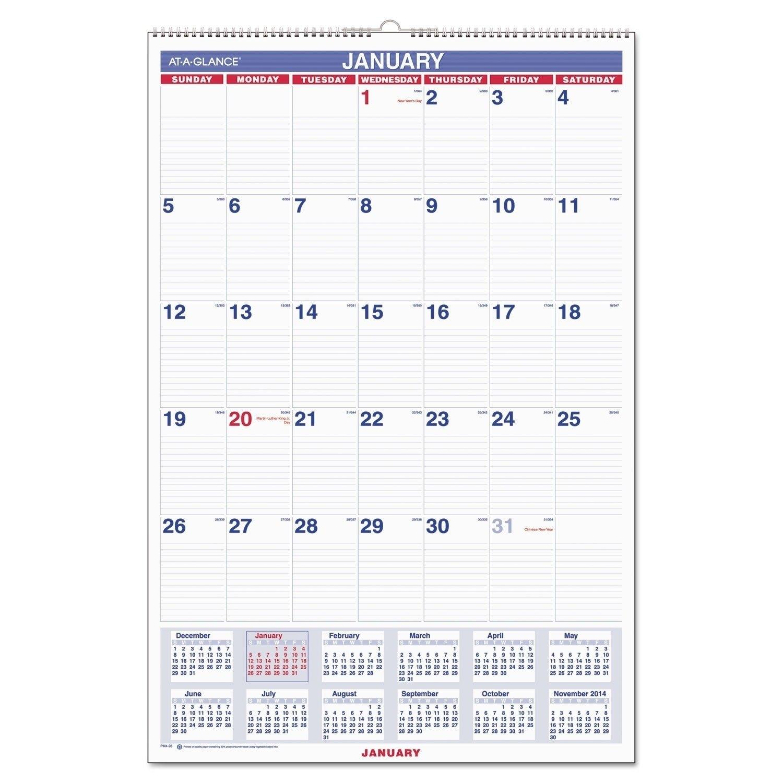 Monthly Wall Calendar With Ruled Daily Blocks, 20 X 30, White, 2019 Calendar 2019 Walmart