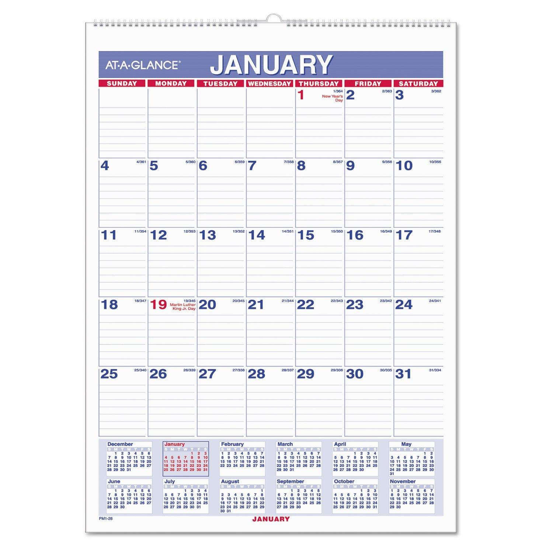 Monthly Wall Calendar With Ruled Daily Blocksat A Glance 2019 Calendar 8 1/2 X 11