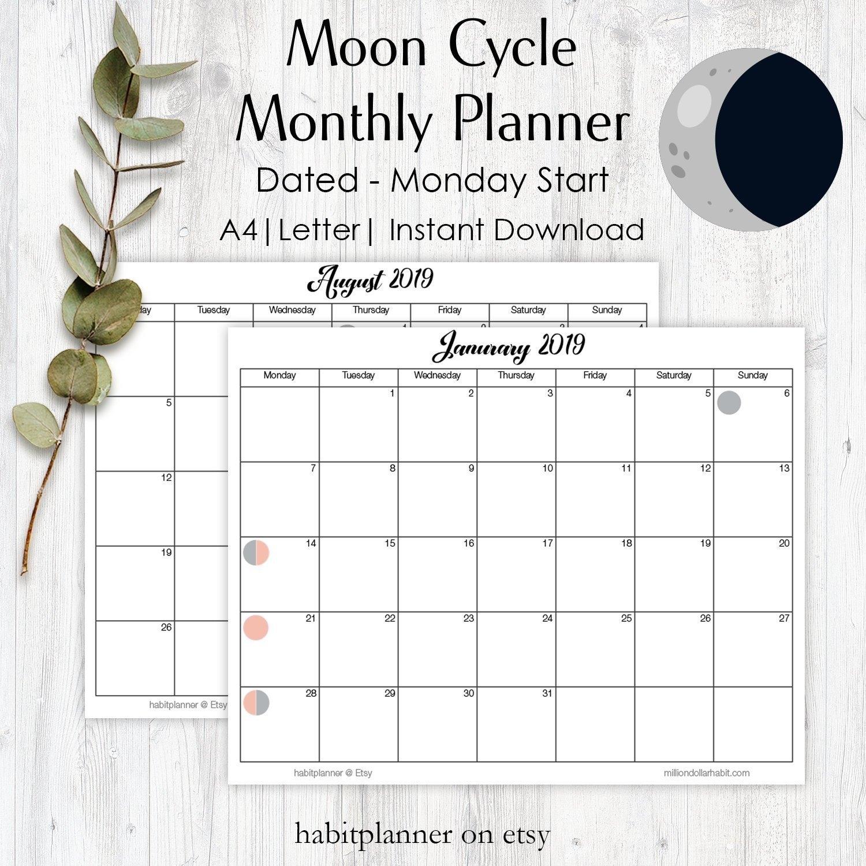 Moon Cycle Calendar Lunar Phase Calendar Moon Phases 2019 | Etsy Calendar 2019 Etsy