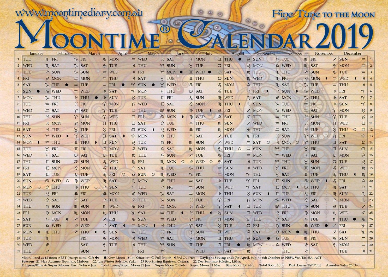 Moontime Calendar 2019 – Moontime Diary Moontime Diary Lunar Calendar 2019 Zodiac