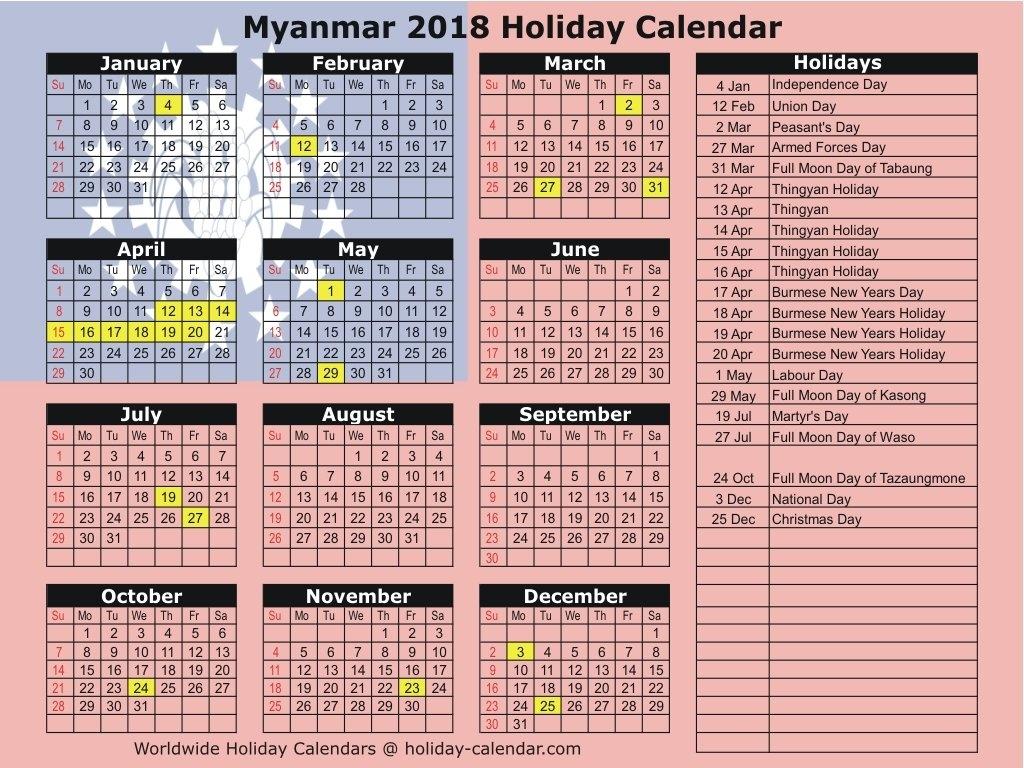 Myanmar 2018 / 2019 Holiday Calendar Calendar 2019 National Days