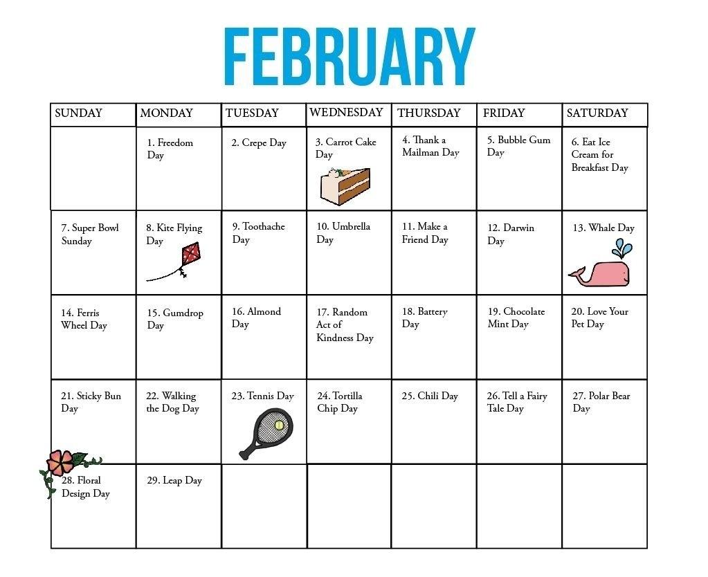 National Days Of The Year Calendar | Blank Calendar Template Calendar 2019 National Days